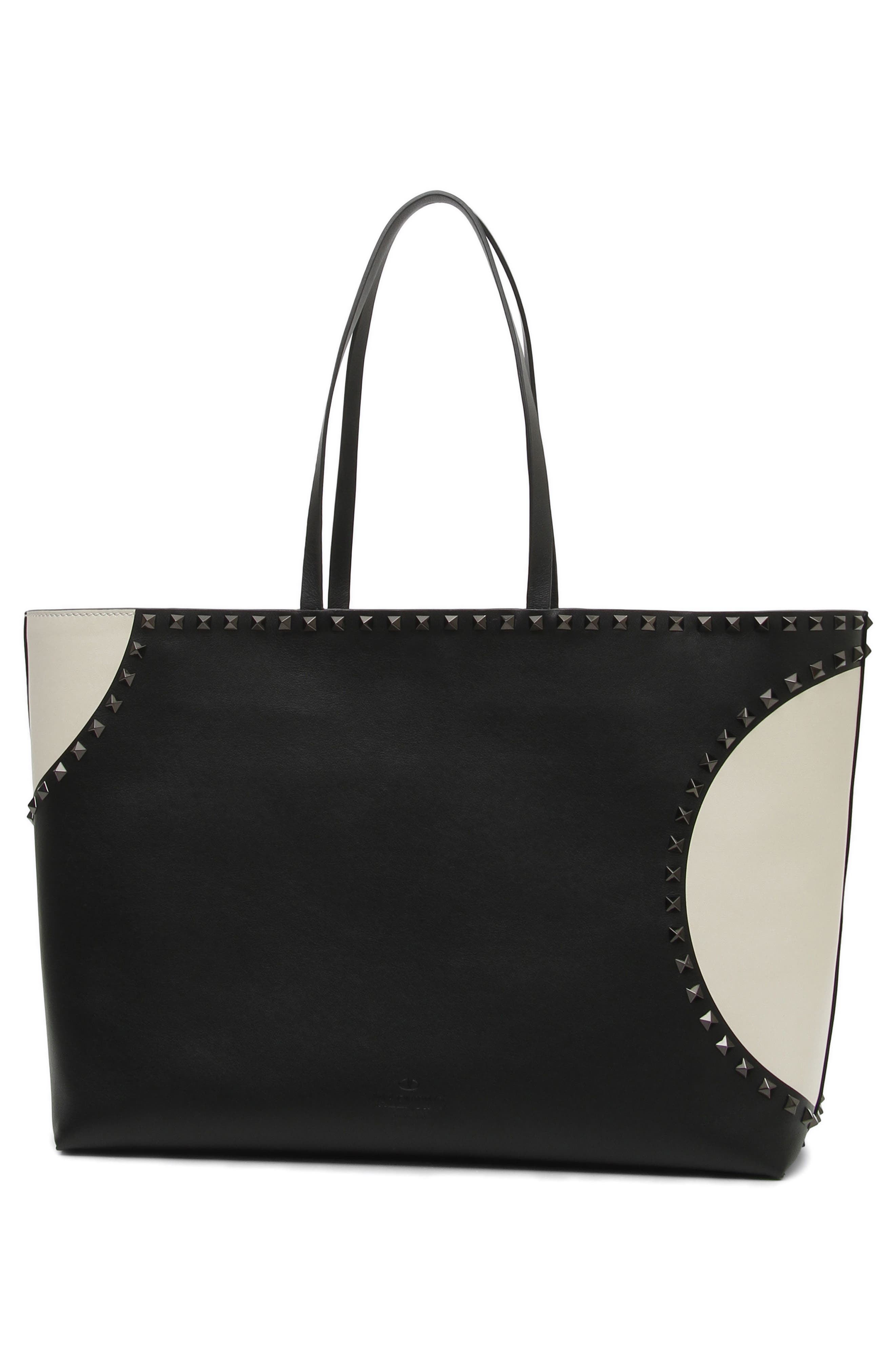 Rockstud Large Dot Leather Tote,                             Alternate thumbnail 2, color,                             Black/ White