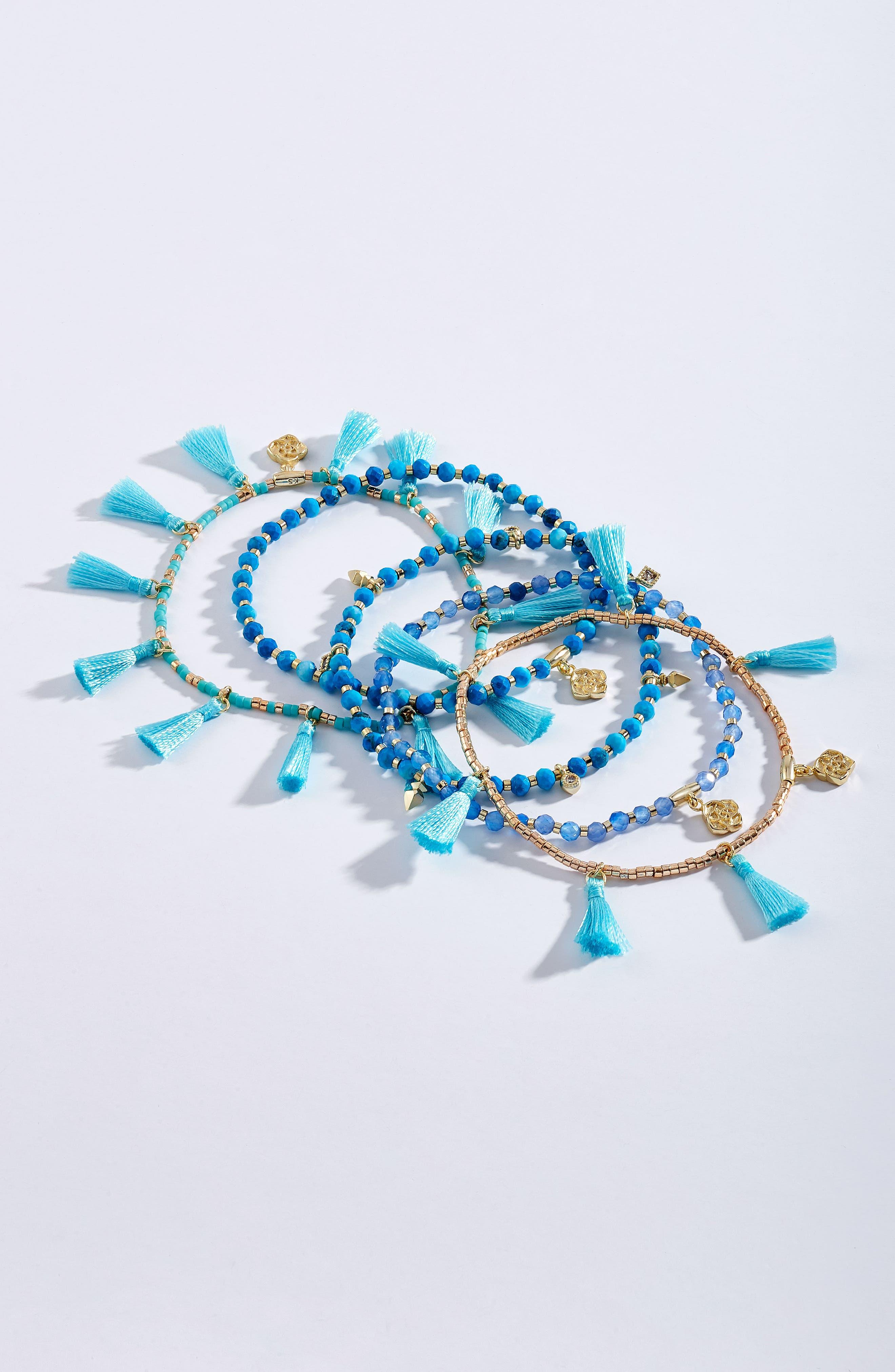 Julie Tassel Bracelet,                             Alternate thumbnail 2, color,                             Aqua Mix/ Gold