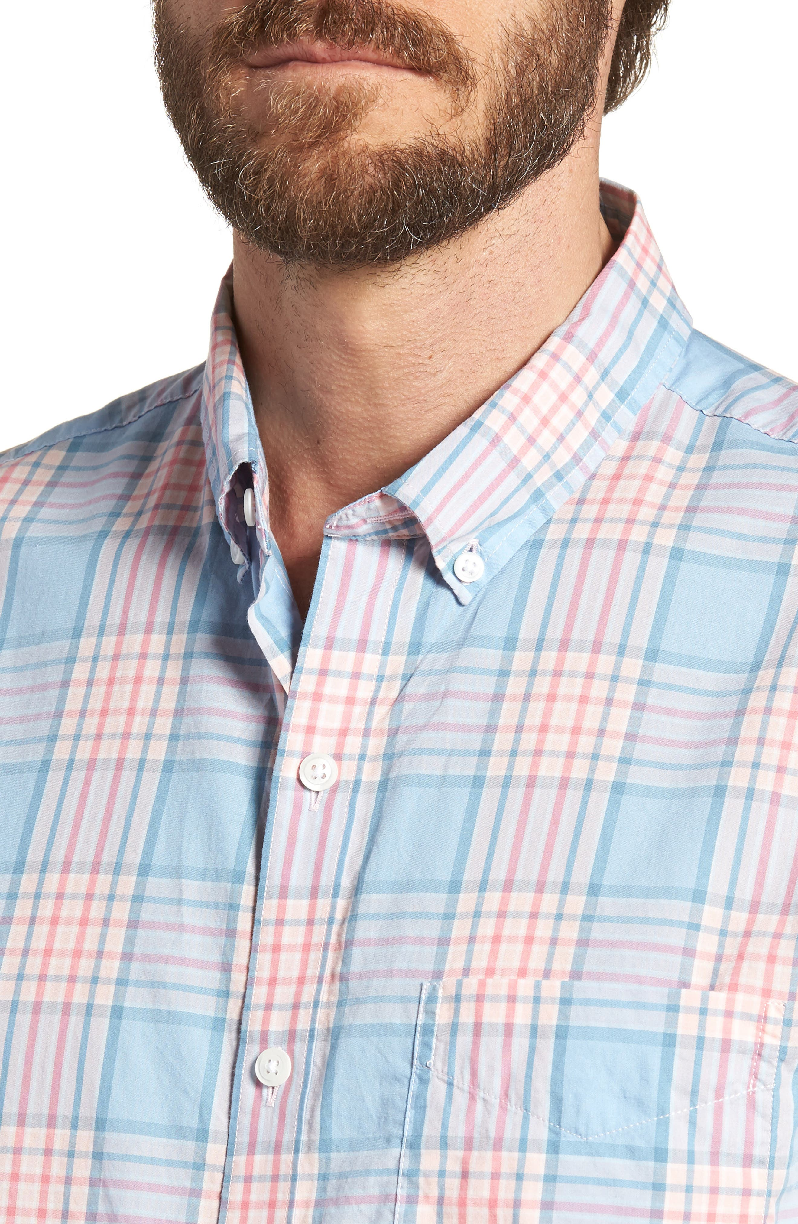 Slim Fit Plaid Sport Shirt,                             Alternate thumbnail 2, color,                             Sandoval Plaid - Peach Melba