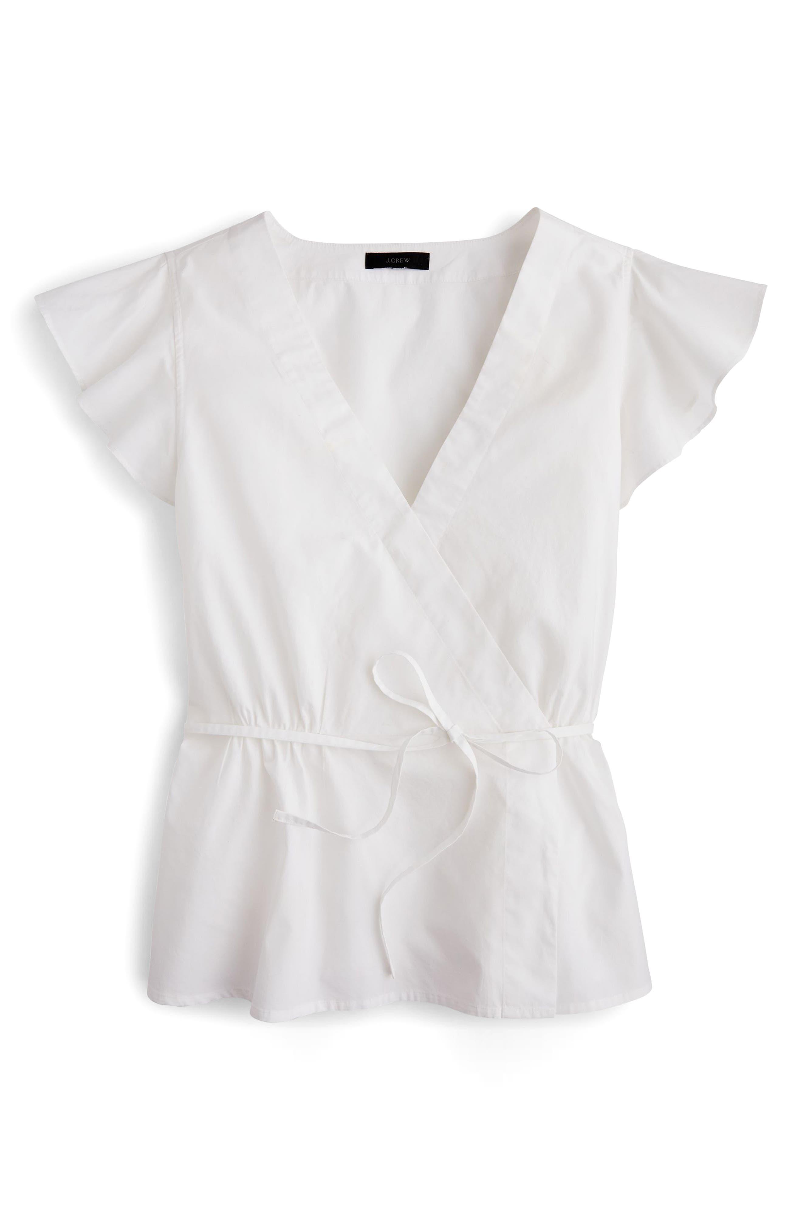Flutter Sleeve Cotton Poplin Wrap Top,                             Alternate thumbnail 3, color,                             White