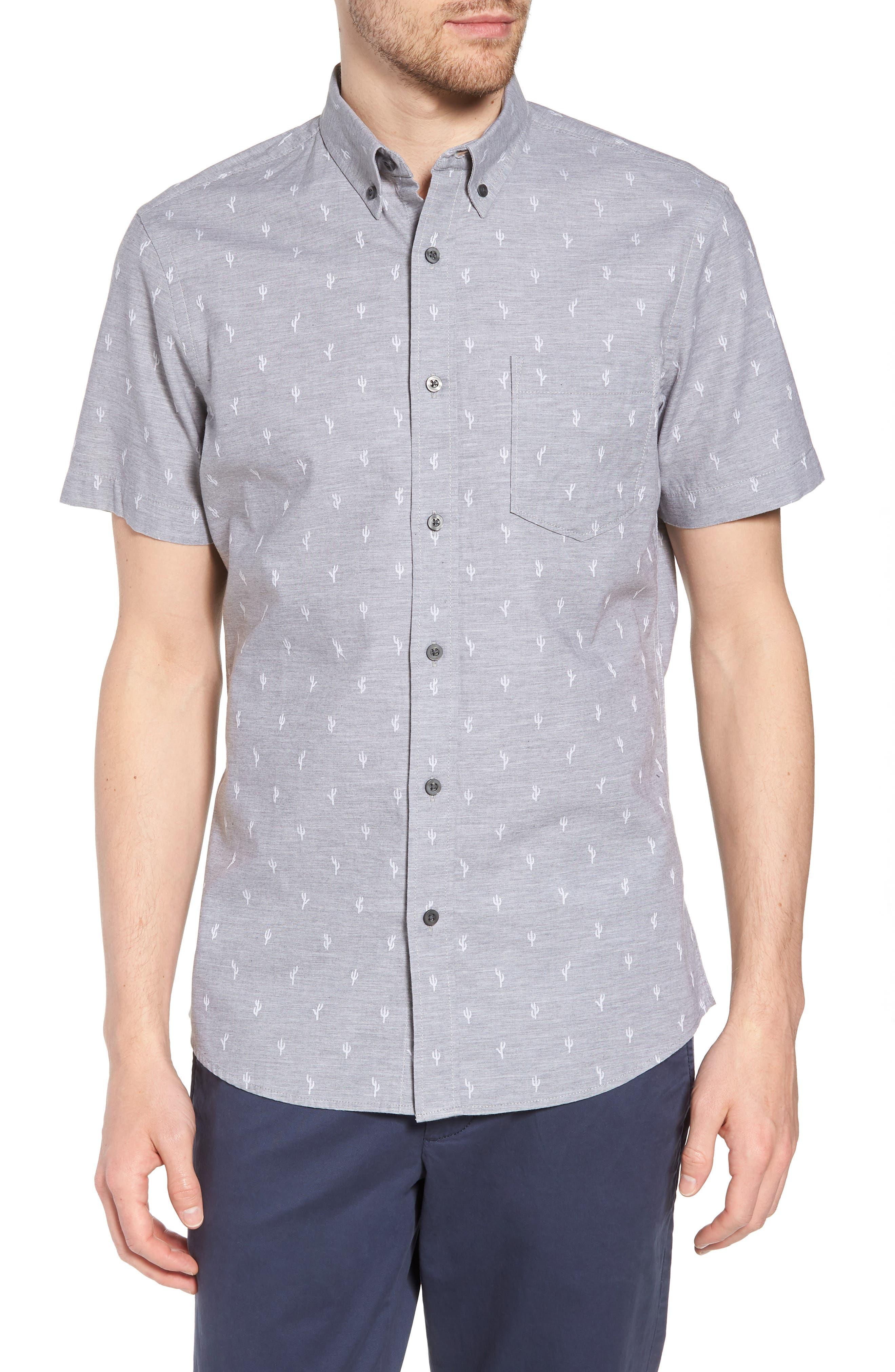 Cactus Print Dobby Sport Shirt,                         Main,                         color, Grey Weather Cactus Dobby