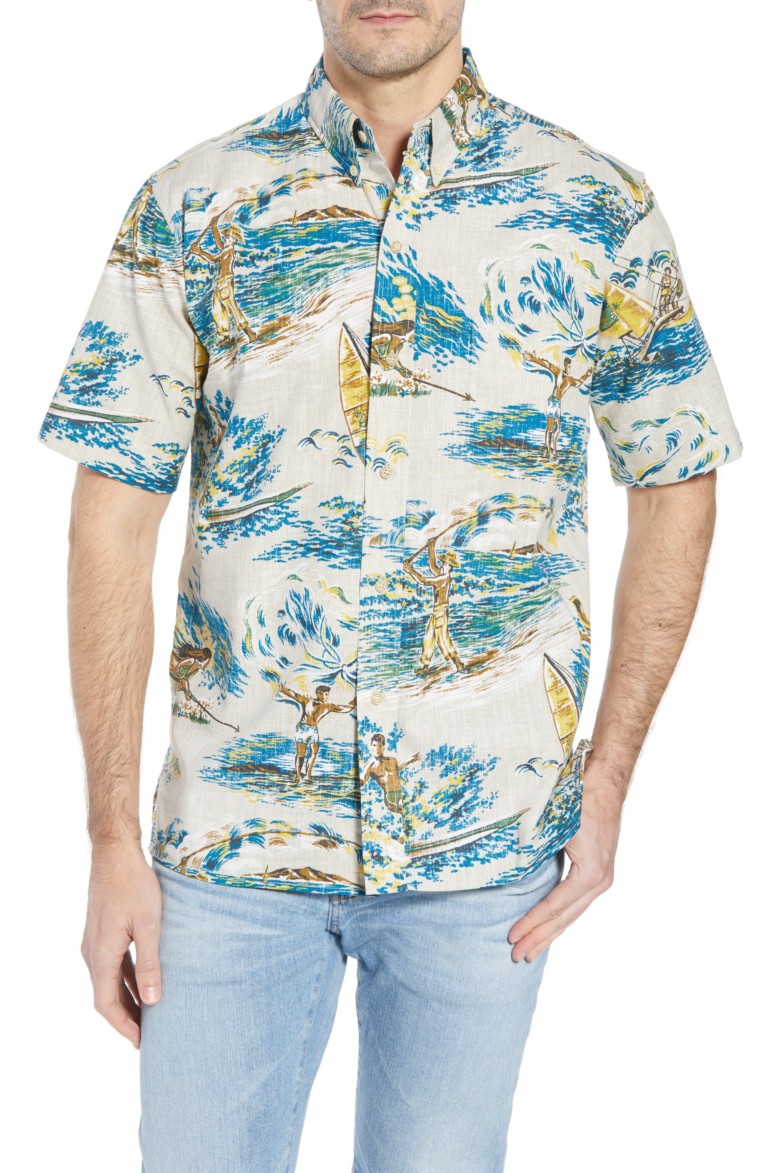 Moana Medley Classic Fit Print Sport Shirt,                         Main,                         color, Chalk