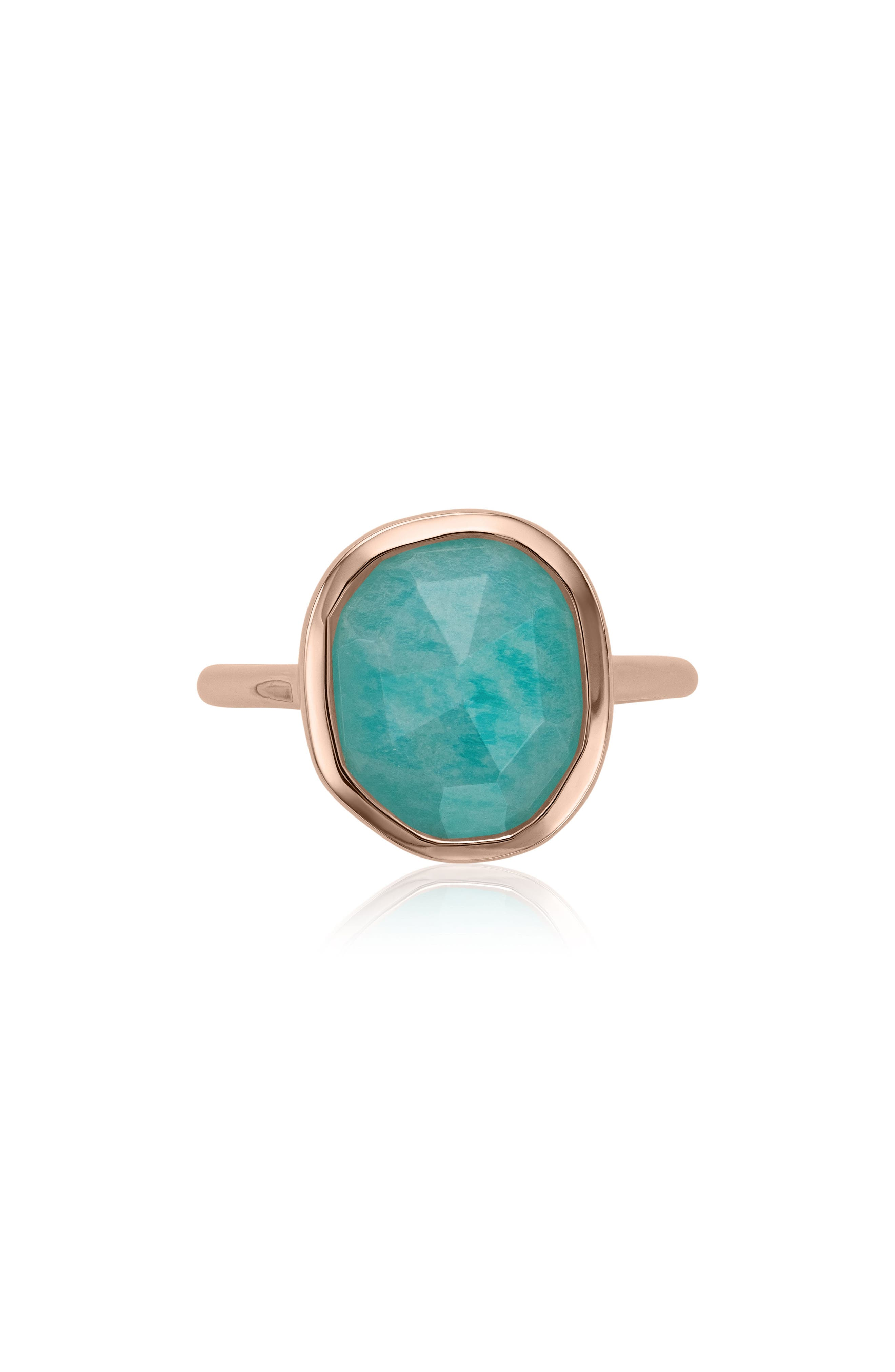 Siren Medium Semiprecious Stone Stacking Ring in Amazonite/ Rose Gold