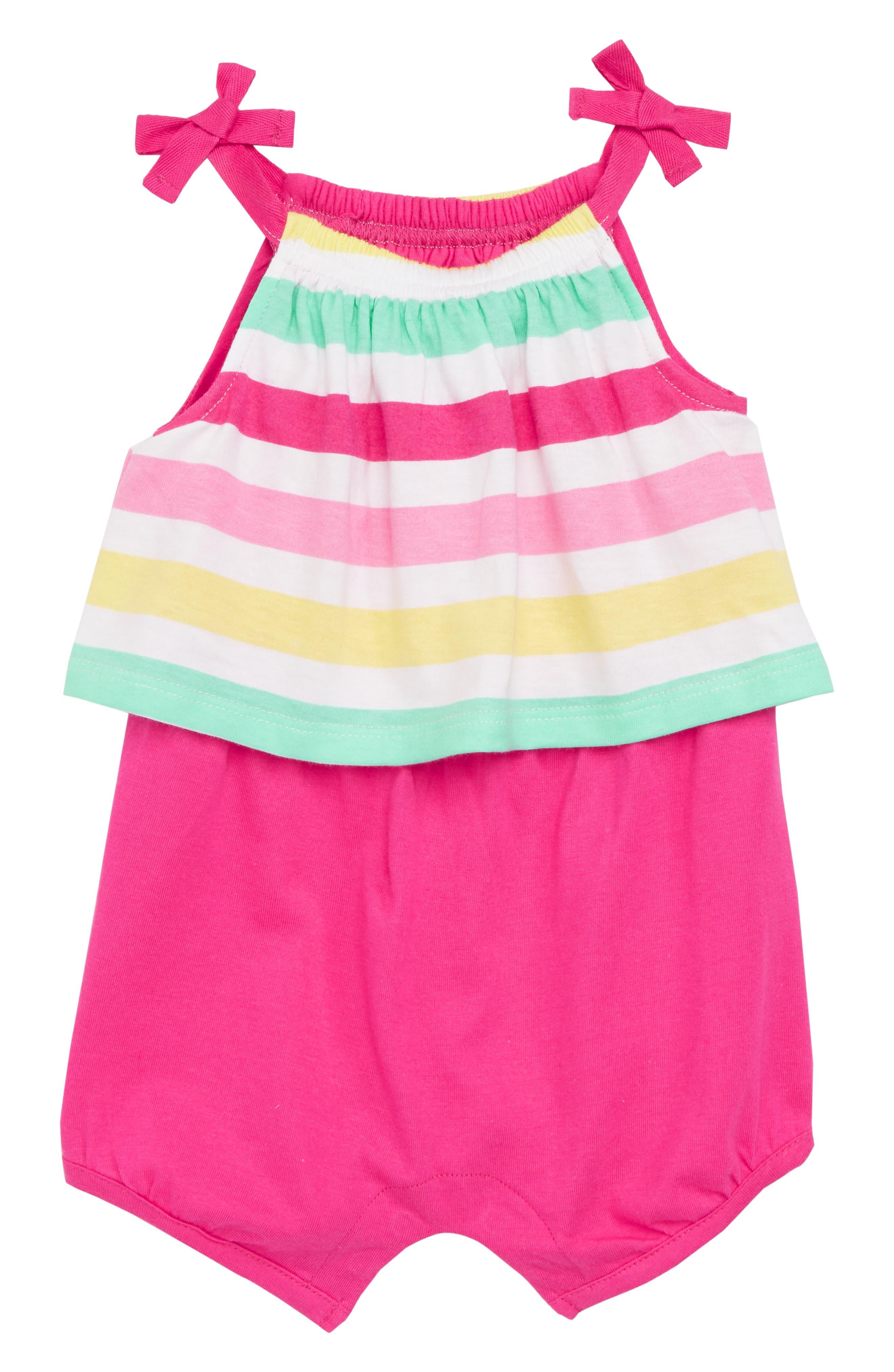 Popover Romper,                         Main,                         color, Fuchsia Summer Stripe
