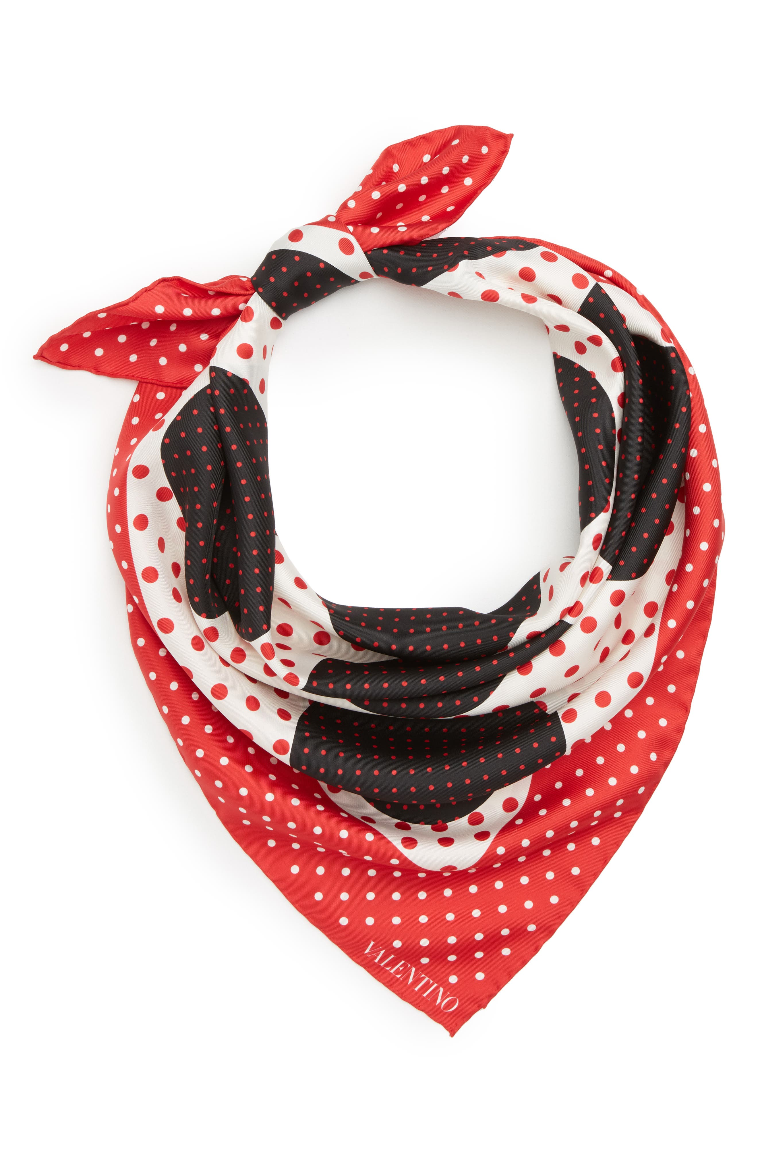 Classic Dot Silk Scarf,                             Alternate thumbnail 2, color,                             Red Multi