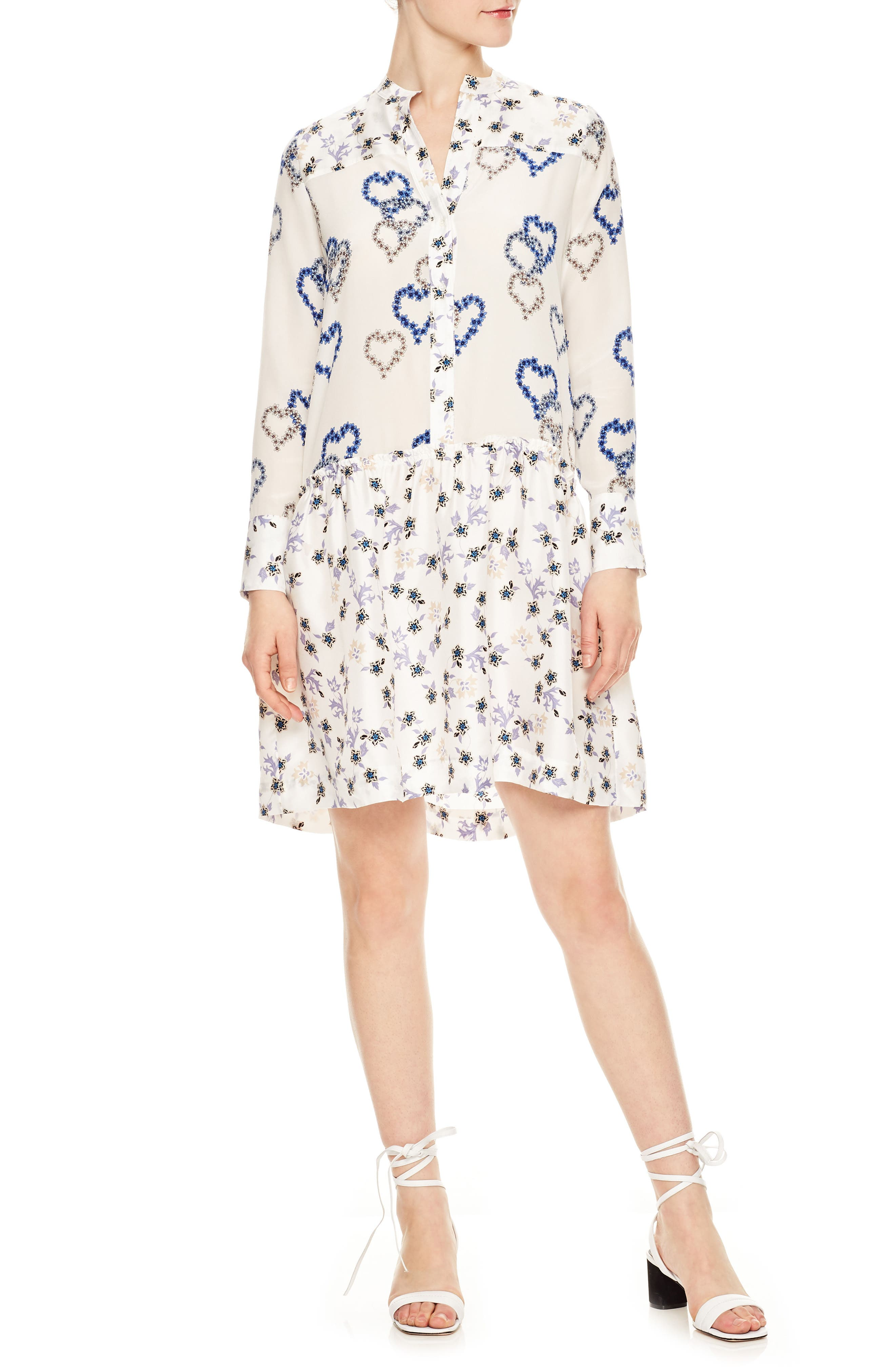 Floral Hearts Silk Dress,                         Main,                         color, Ecru