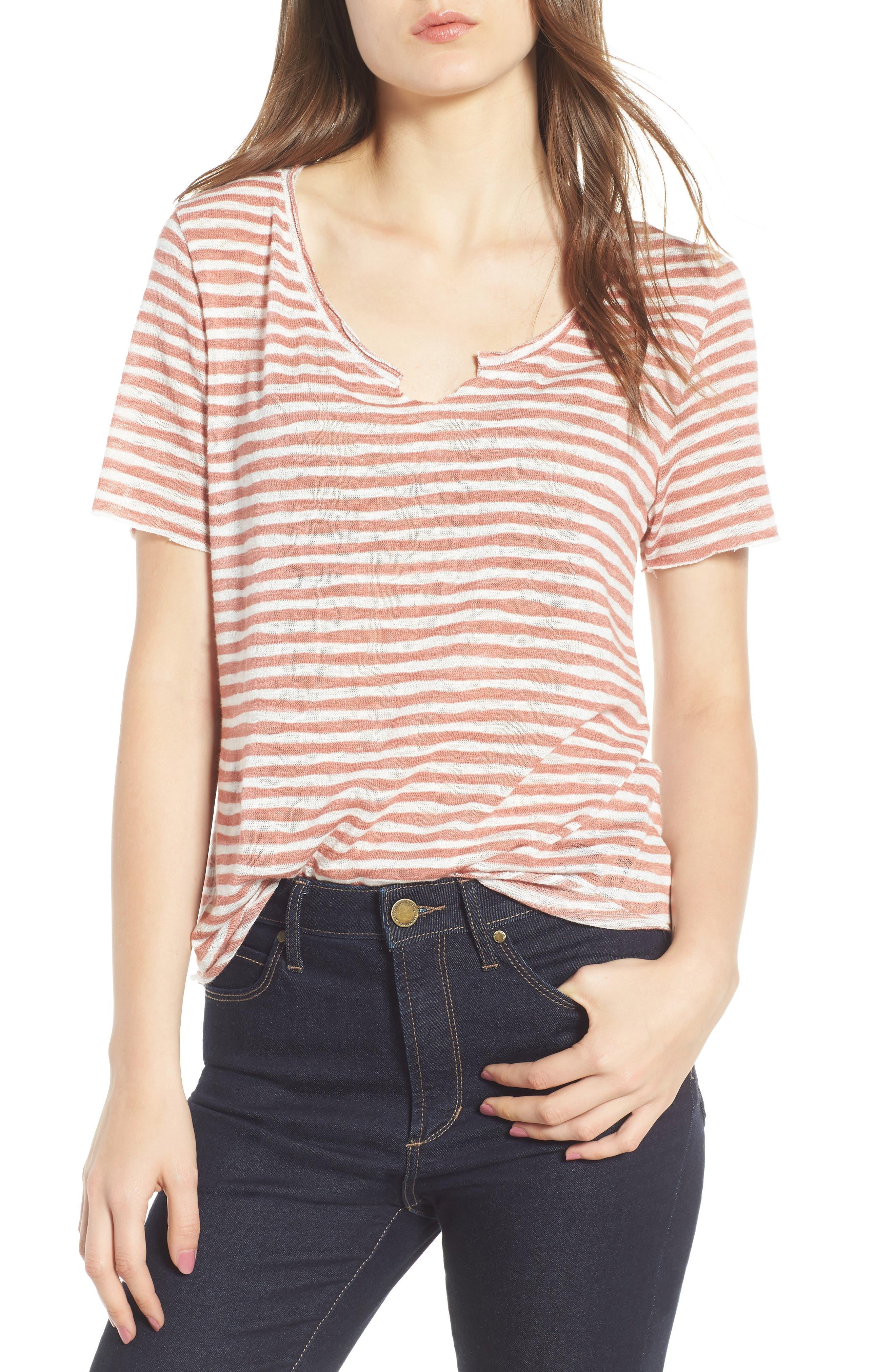 Suzie Stripe Tee,                         Main,                         color, Blush/ Ivory