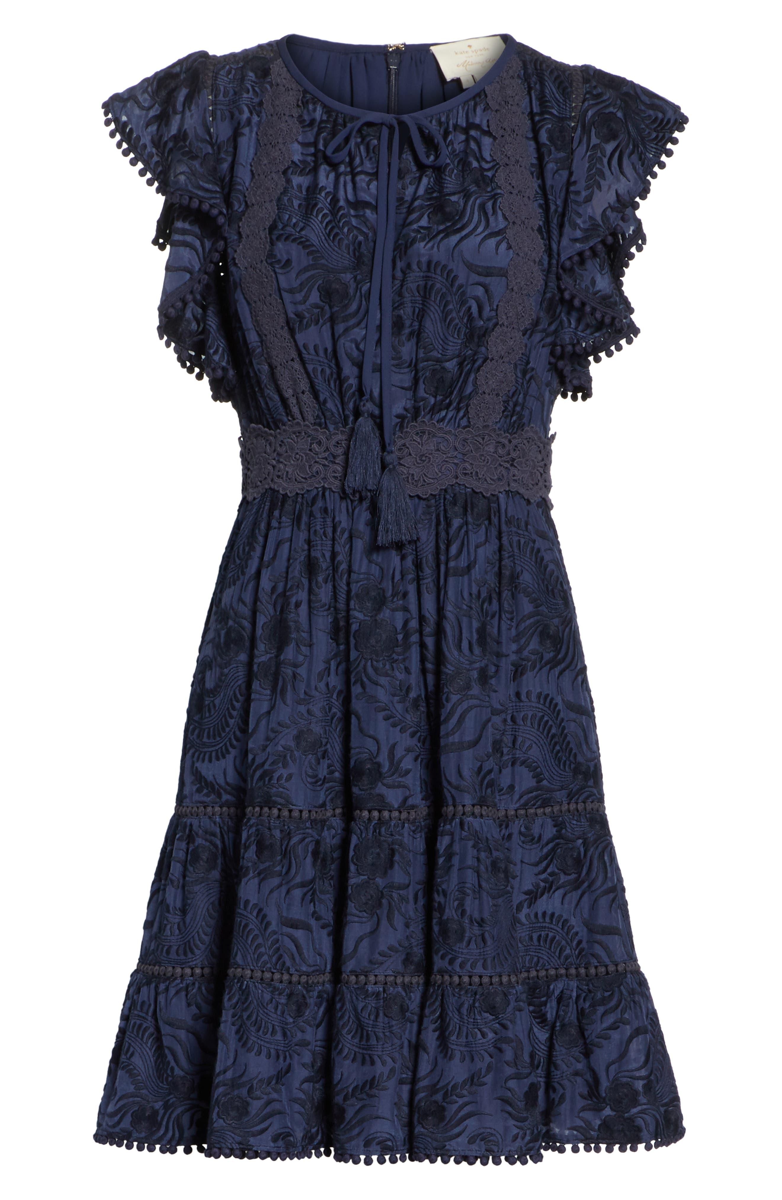 jenette cotton silk fit & flare dress,                             Alternate thumbnail 6, color,                             Rich Navy