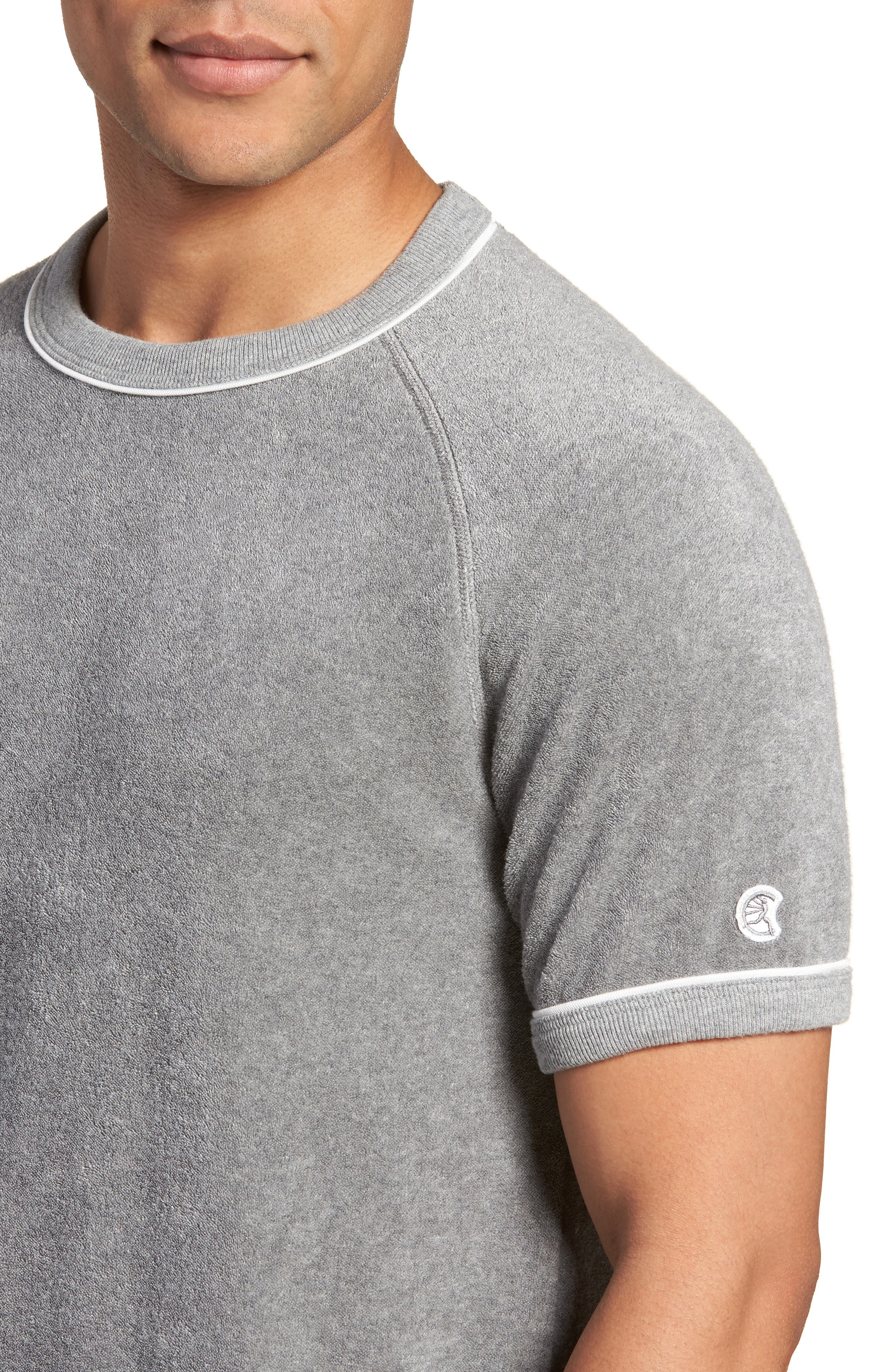 + Champion Short Sleeve Terry Sweatshirt,                             Alternate thumbnail 4, color,                             Grey