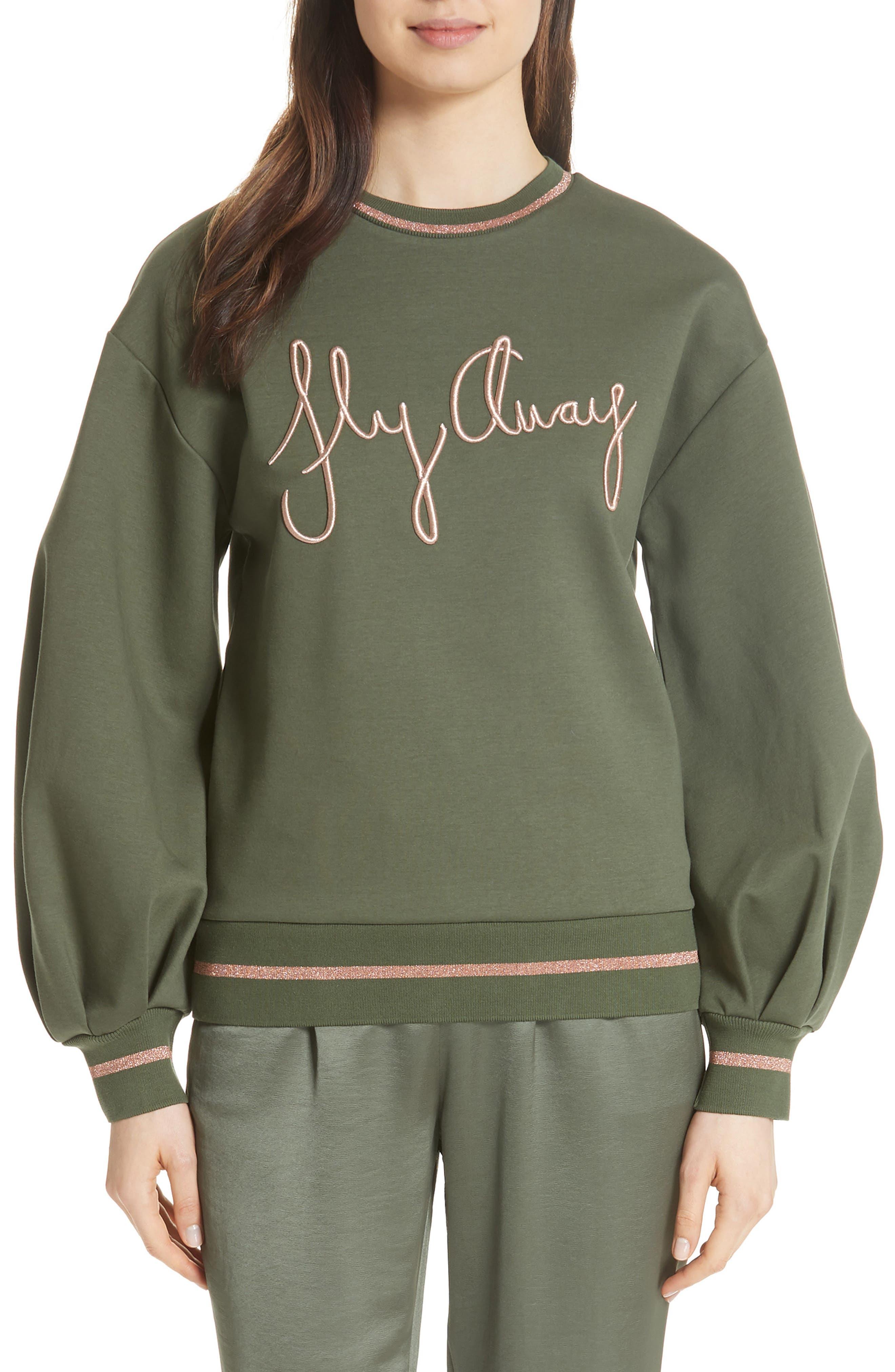 Abileen Fly Away Embroidered Sweatshirt,                         Main,                         color, Khaki