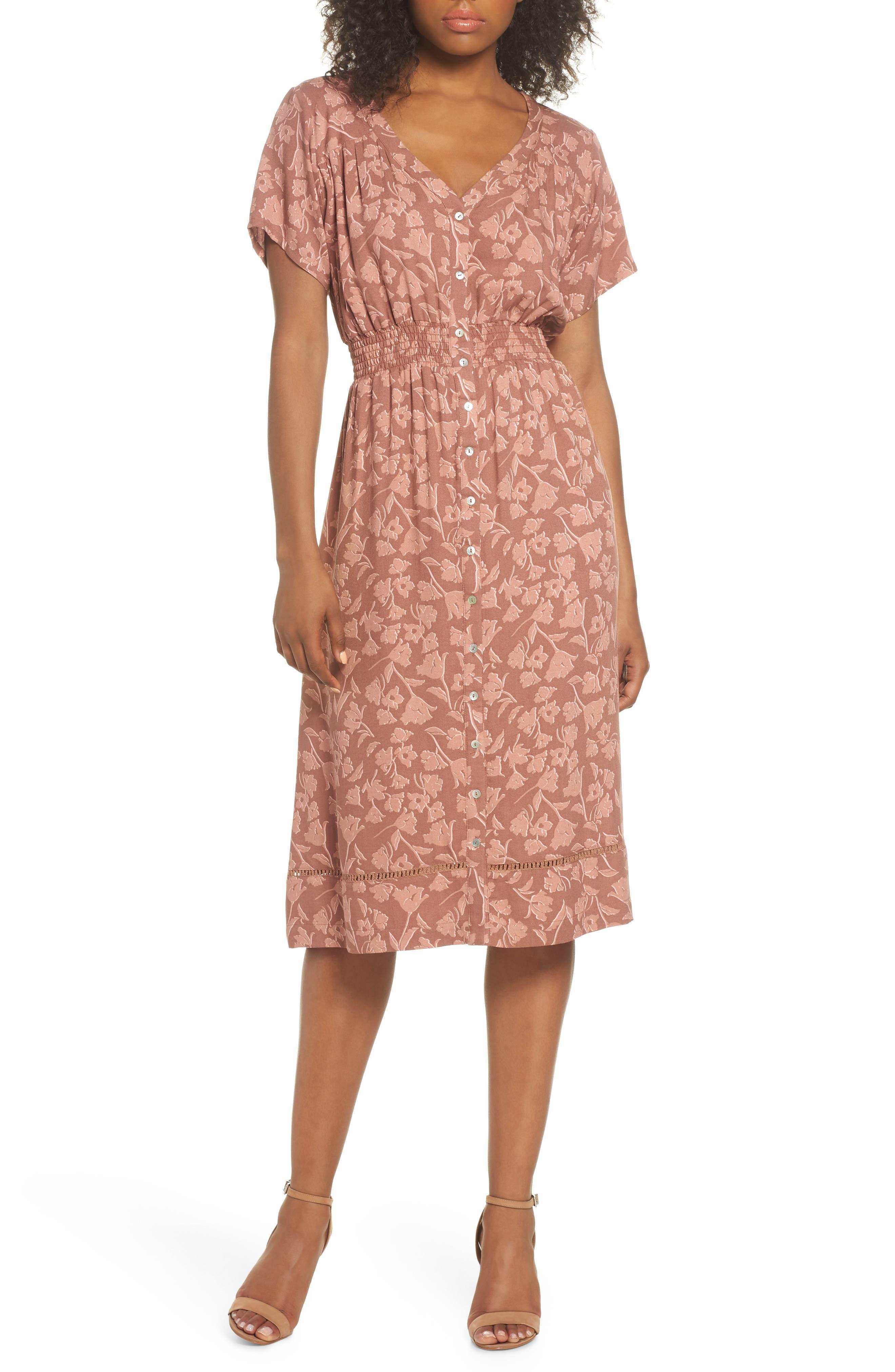 Farrell Floral Smock Waist Dress,                         Main,                         color, Sienna Tulips Print