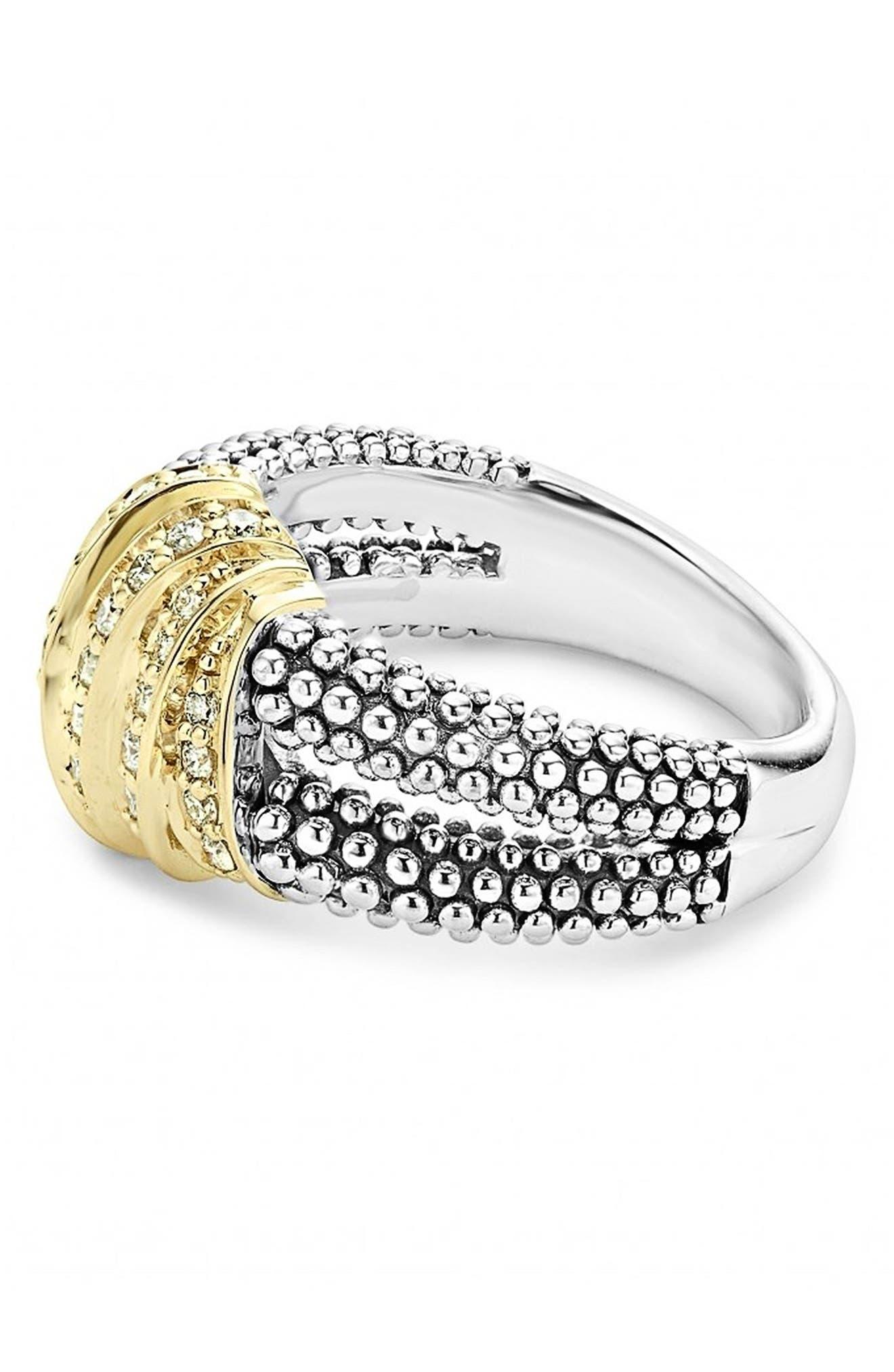 'Diamonds & Caviar' Medium Diamond Ring,                             Alternate thumbnail 2, color,                             Sterling Silver/ Gold