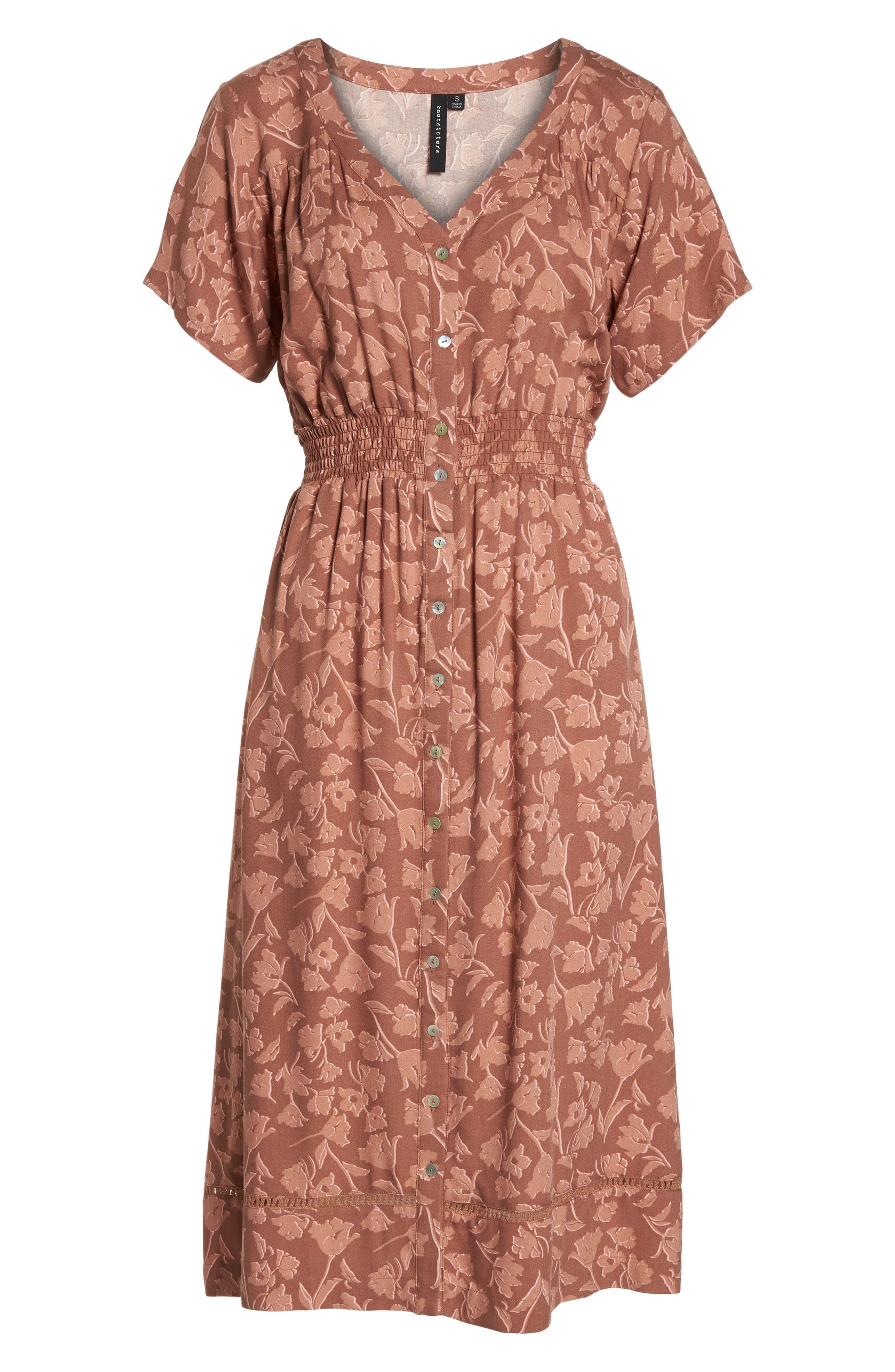 Farrell Floral Smock Waist Dress,                             Alternate thumbnail 7, color,                             Sienna Tulips Print