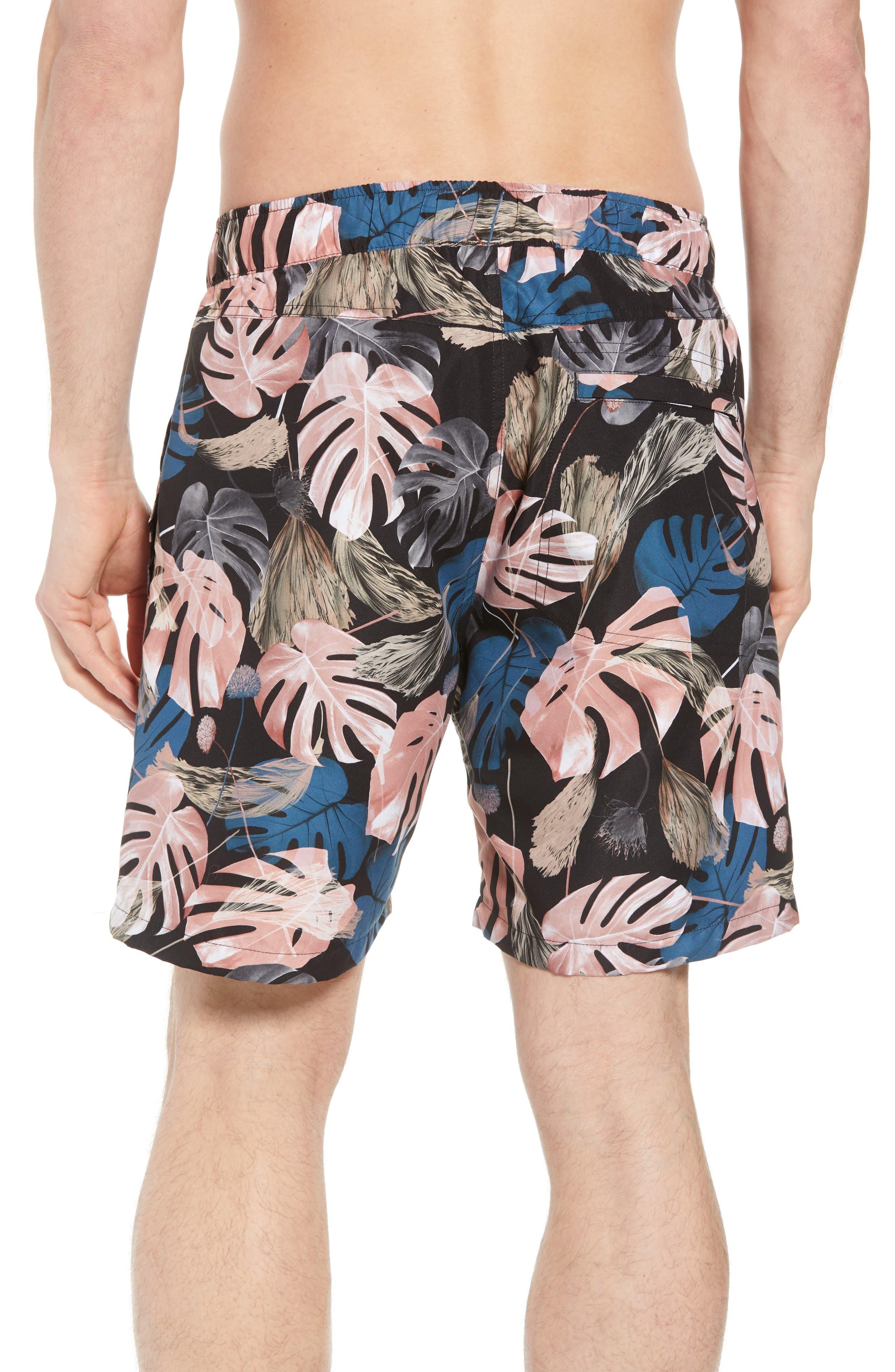 Trent Monstera Swim Shorts,                             Alternate thumbnail 2, color,                             Monstera Print