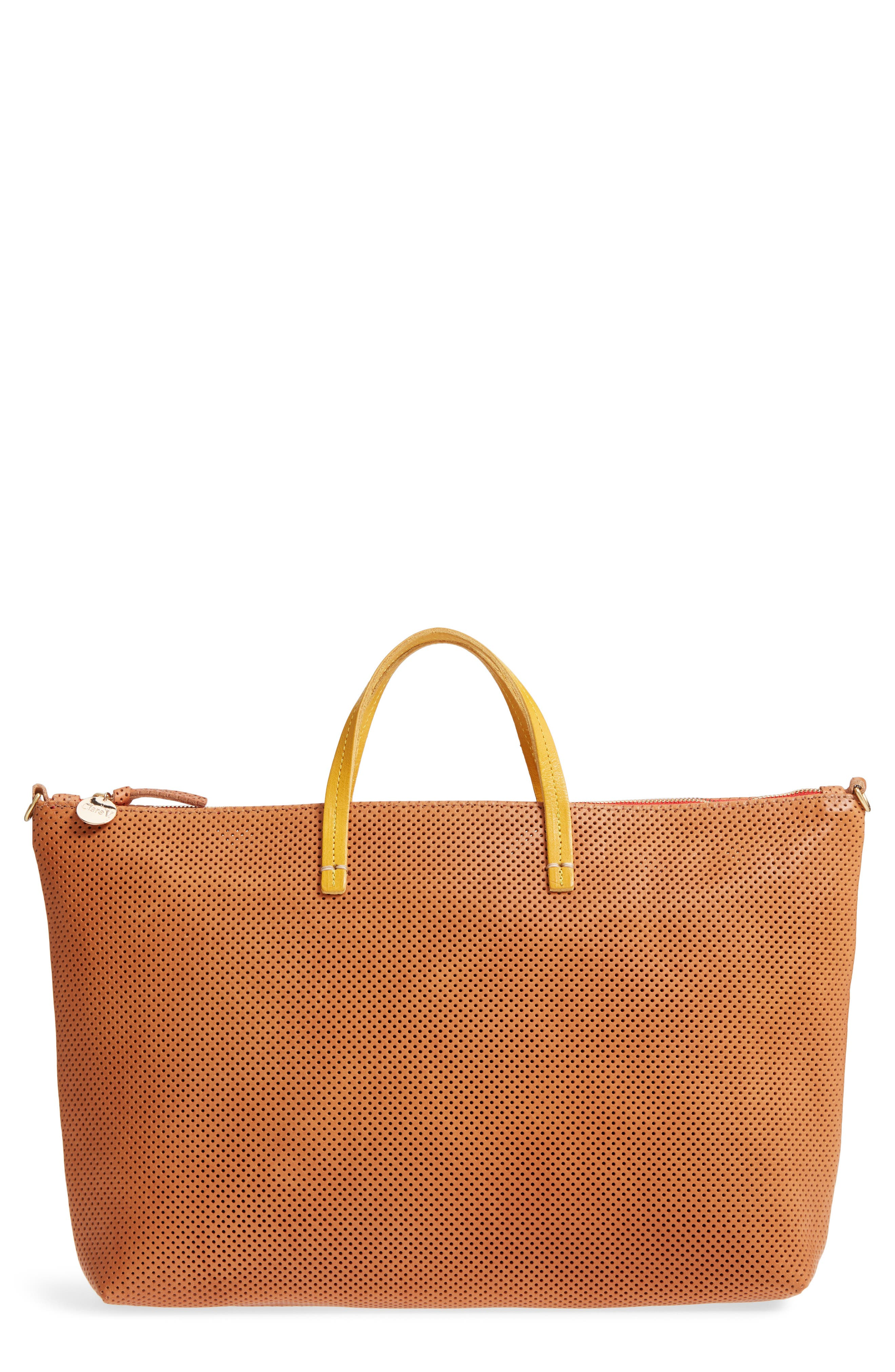 Perforated Leather Tote,                         Main,                         color, Cuoio Perf