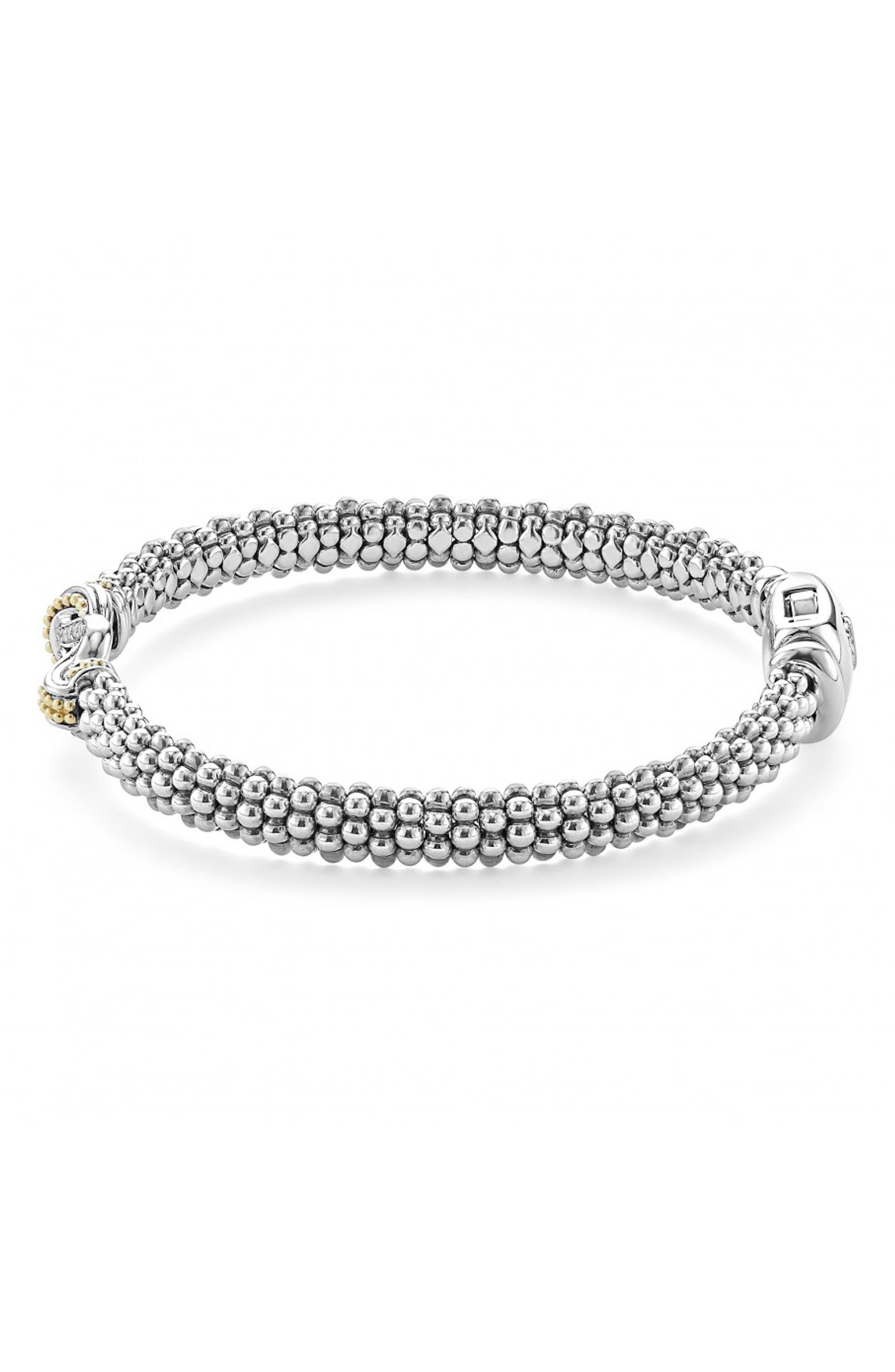 'Newport' Diamond Knot Bracelet,                             Alternate thumbnail 3, color,                             Silver/ Gold