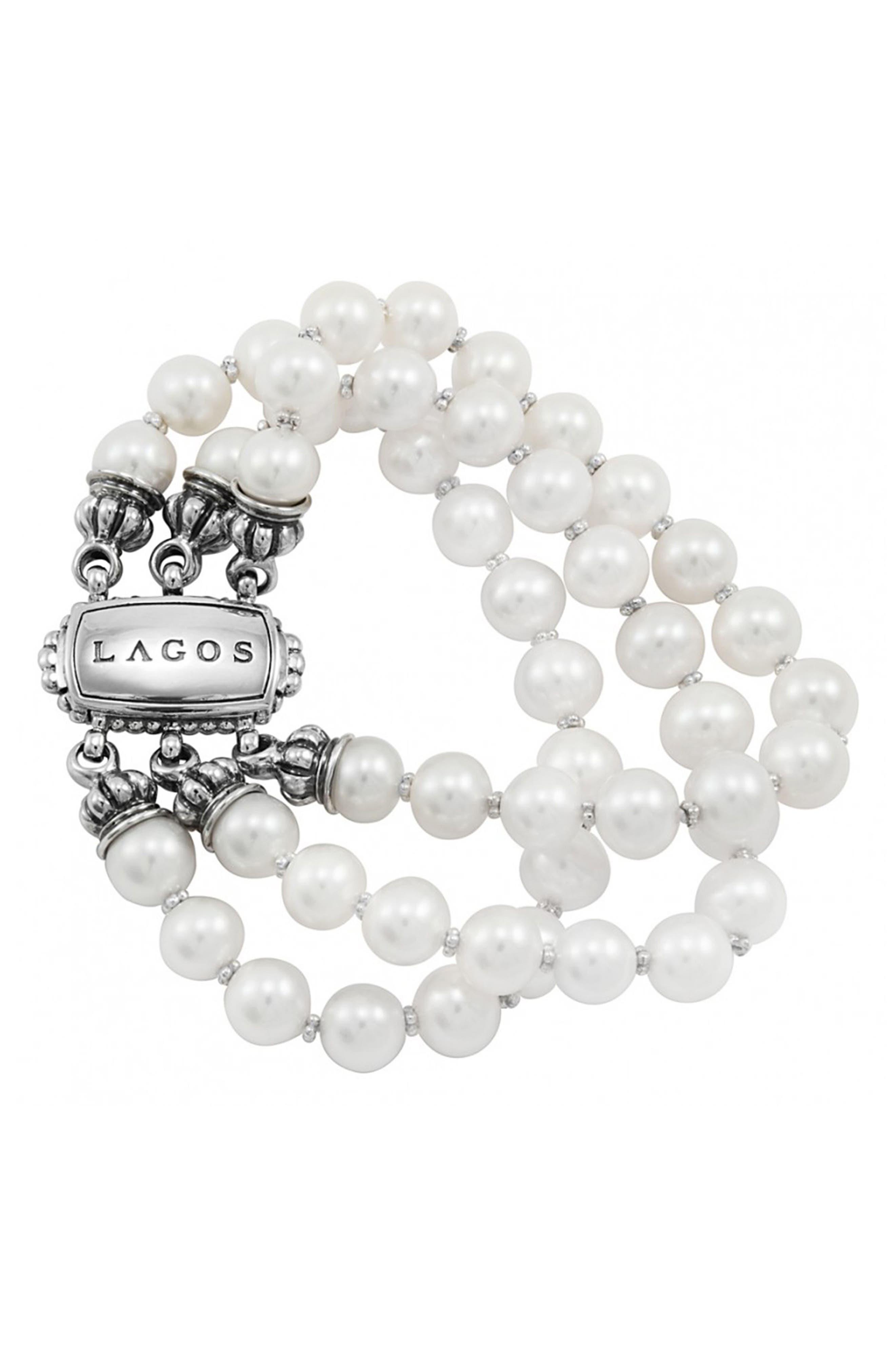'Luna' Triple Strand Pearl Bracelet,                             Main thumbnail 1, color,                             Silver/Pearl