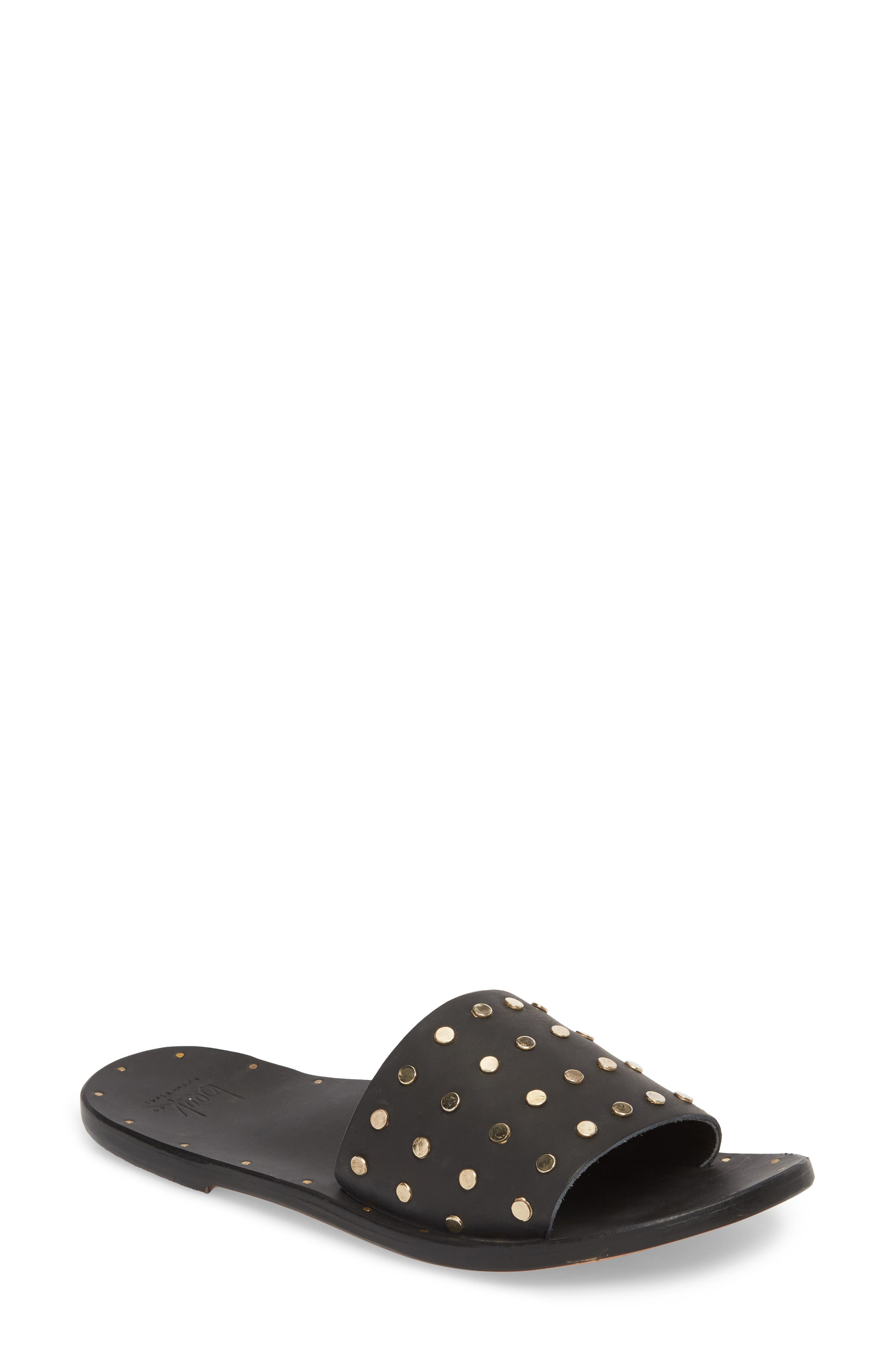 Lovebird Studded Slide Sandal,                             Main thumbnail 1, color,                             Black/ Black