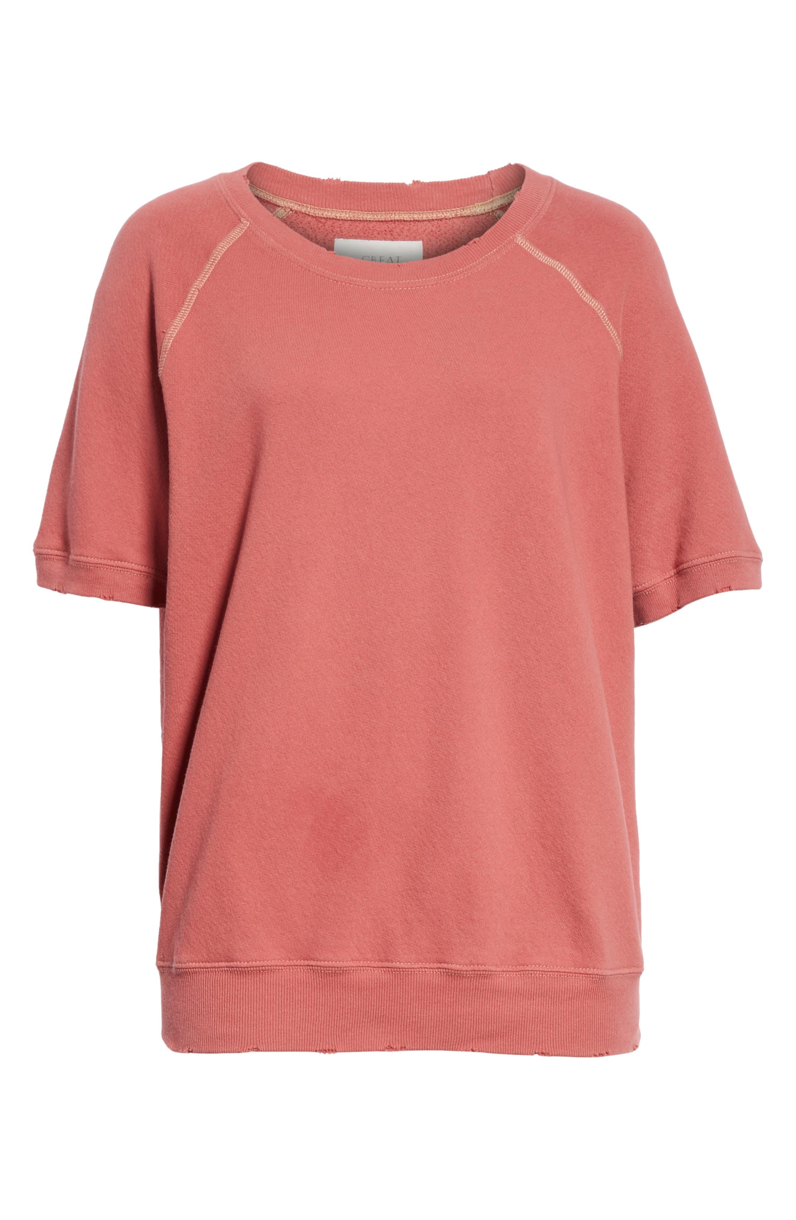 Short Sleeve Sweatshirt,                             Alternate thumbnail 5, color,                             Antique Red