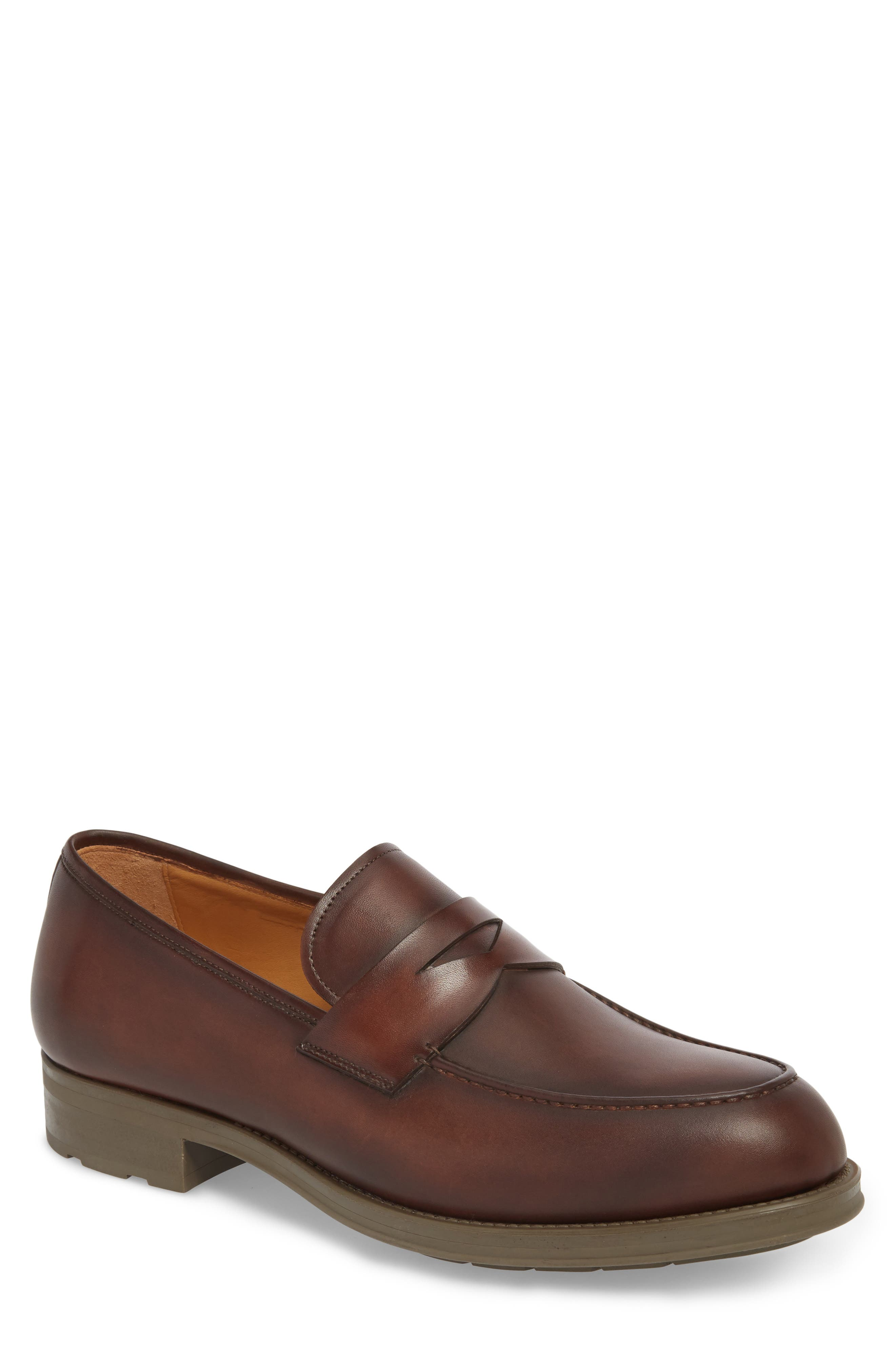 Bernardo Penny Loafer,                         Main,                         color, Brown Leather