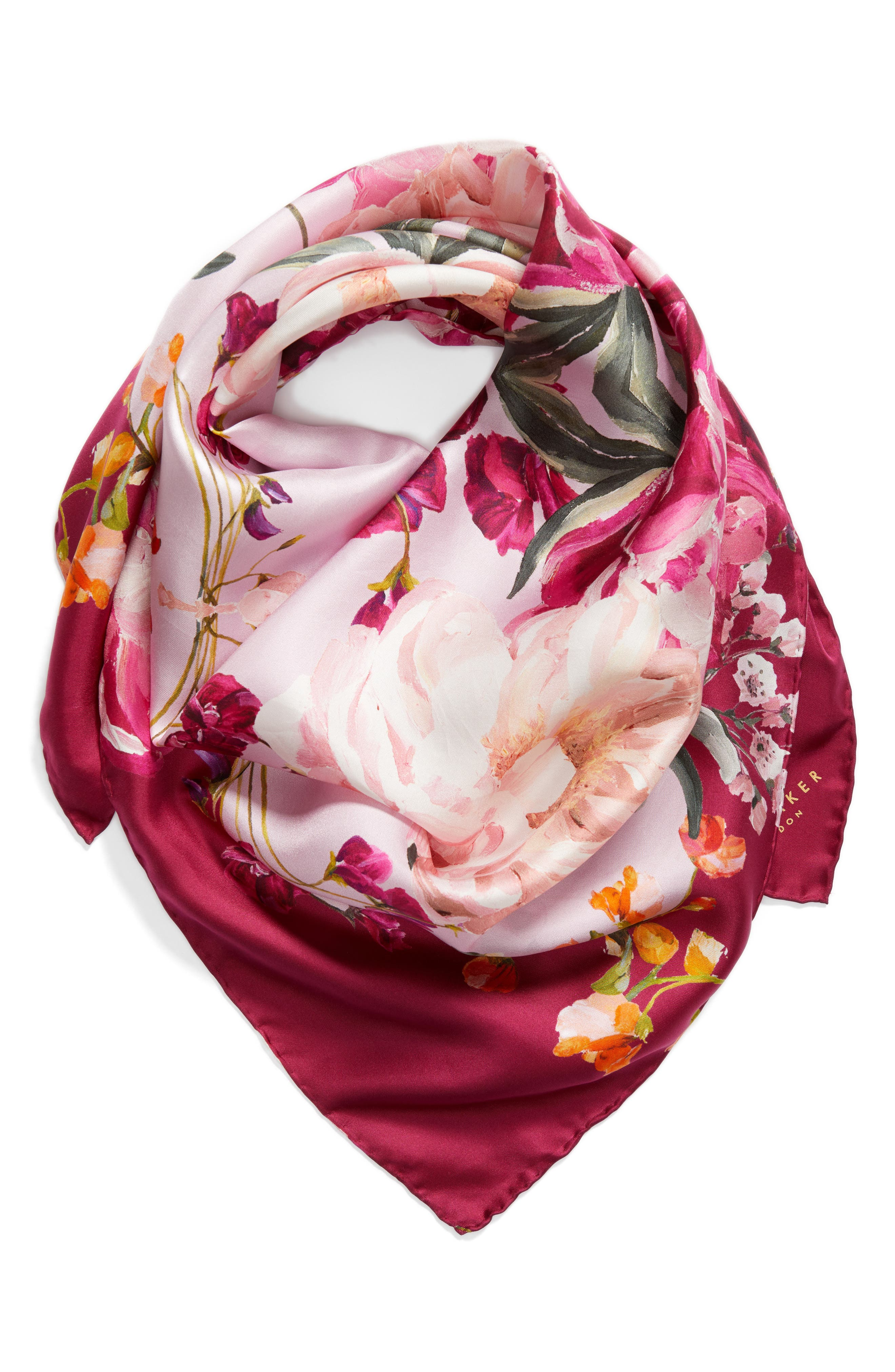Serenity Square Silk Scarf,                             Alternate thumbnail 2, color,                             Pale Pink