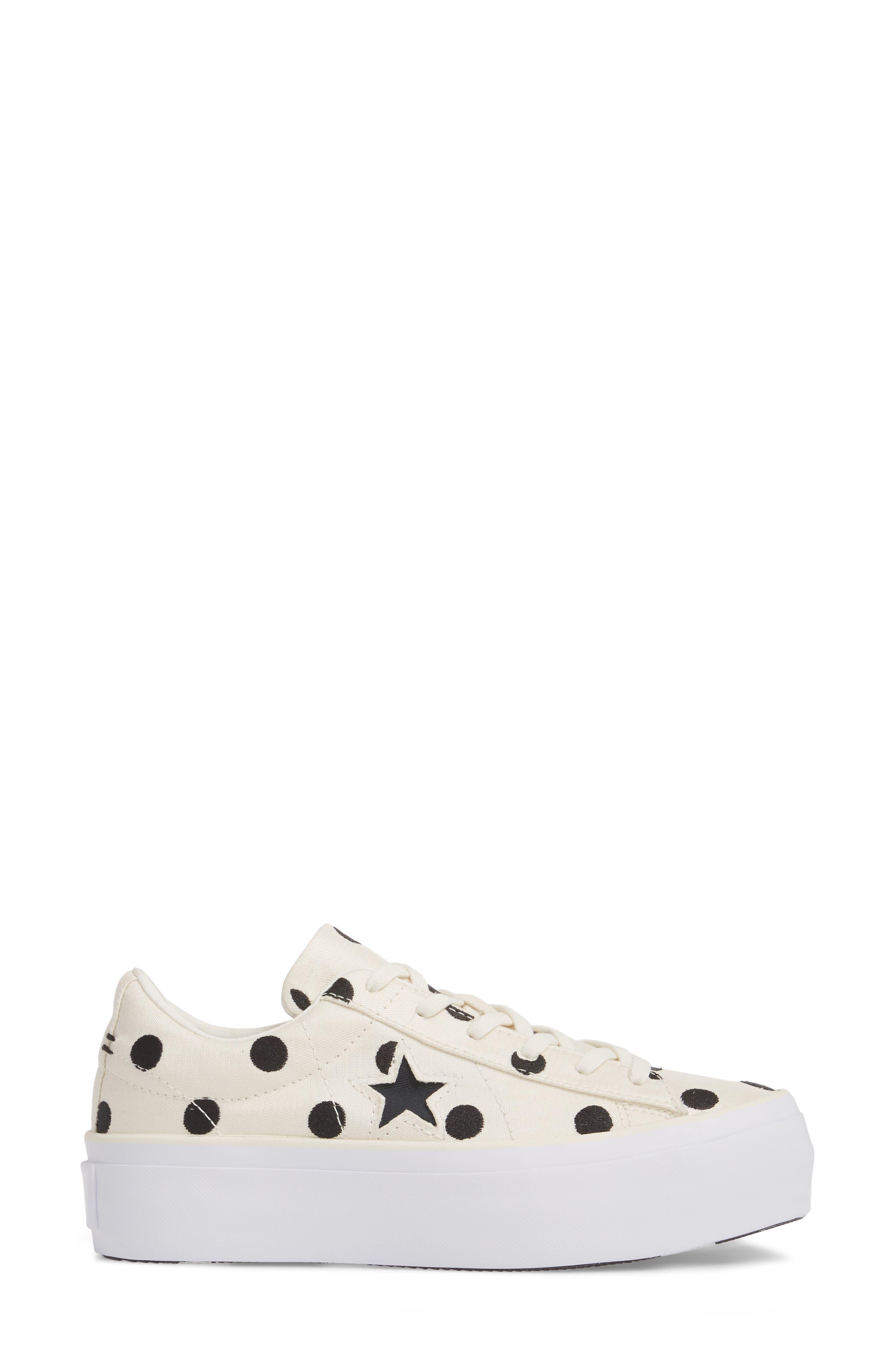 Chuck Taylor<sup>®</sup> One Star Platform Sneaker,                             Alternate thumbnail 3, color,                             Egret/ Black