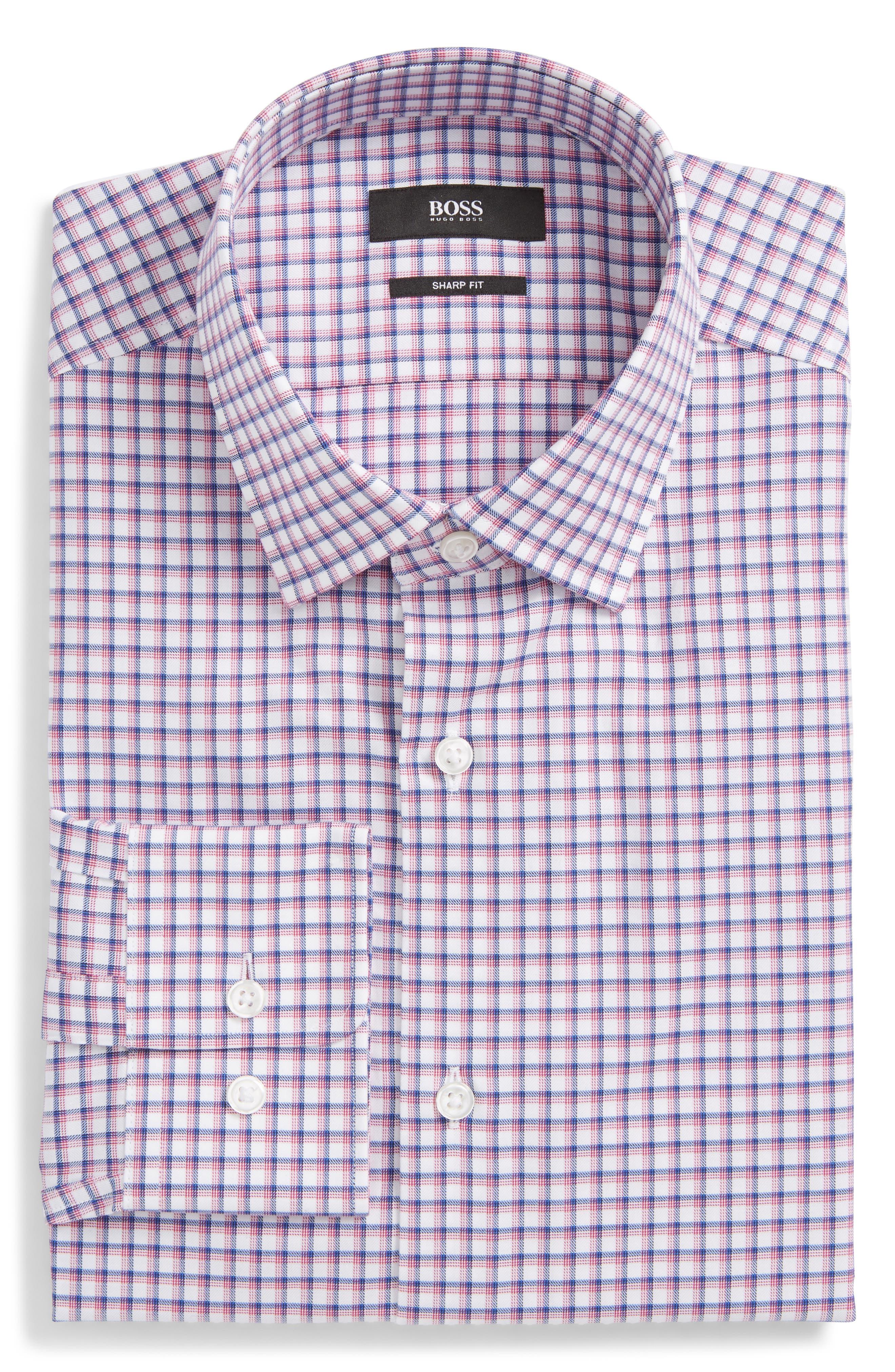 Marley Sharp Fit Plaid Dress Shirt,                             Main thumbnail 1, color,                             Pink