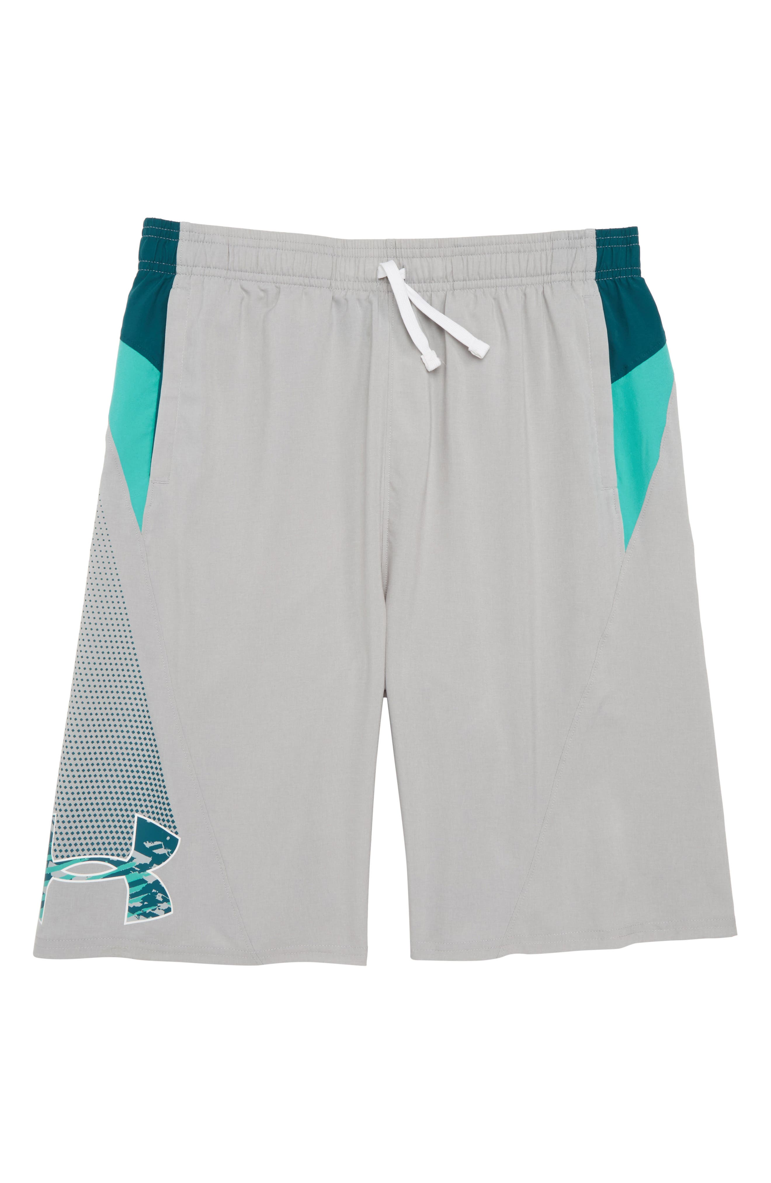 Evolve HeatGear<sup>®</sup> Woven Shorts,                         Main,                         color, Overcast Gray/ Tourmaline Teal