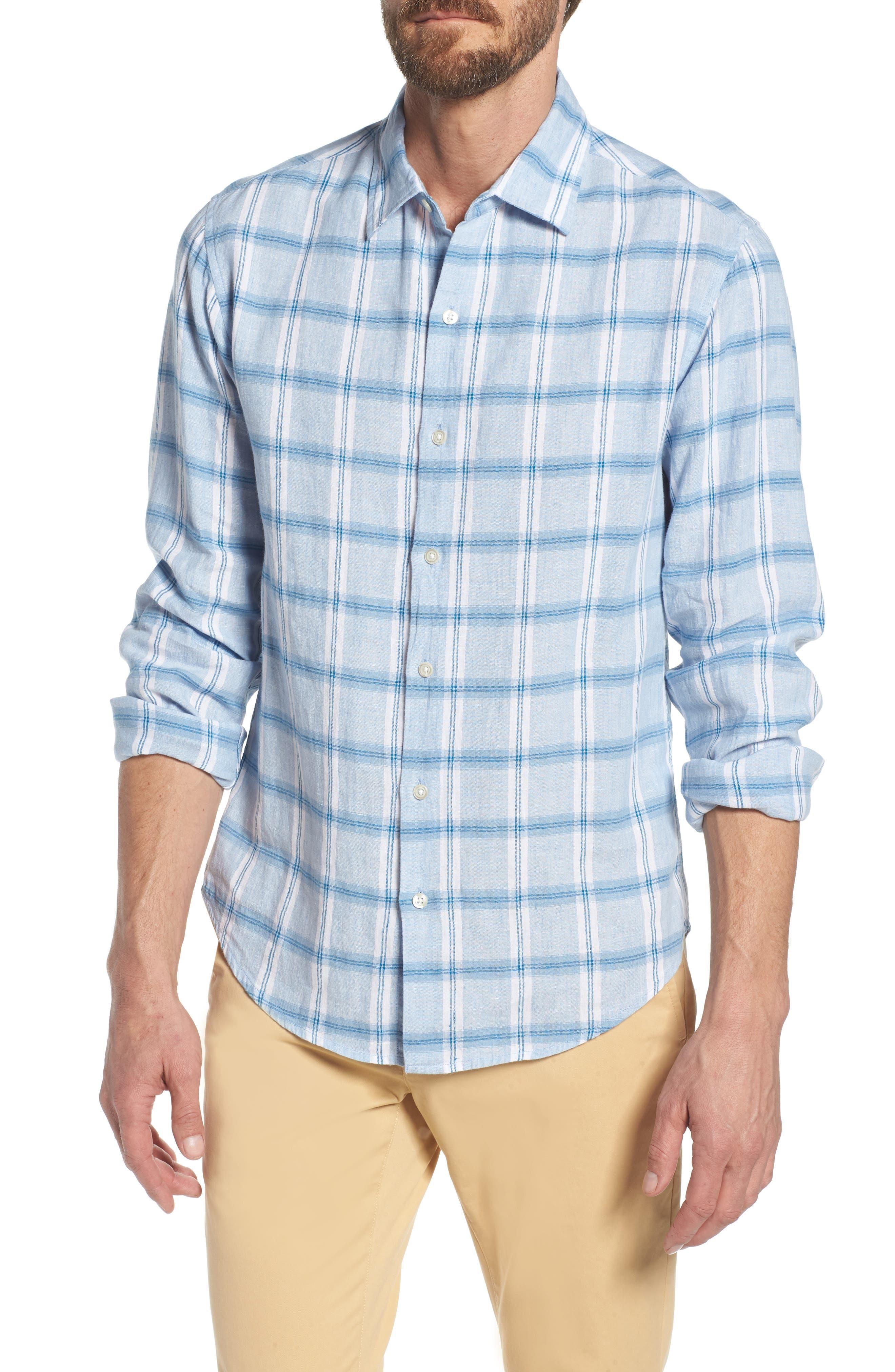 Slim Fit Plaid Linen & Cotton Sport Shirt,                         Main,                         color, Starfish Plaid - By Water