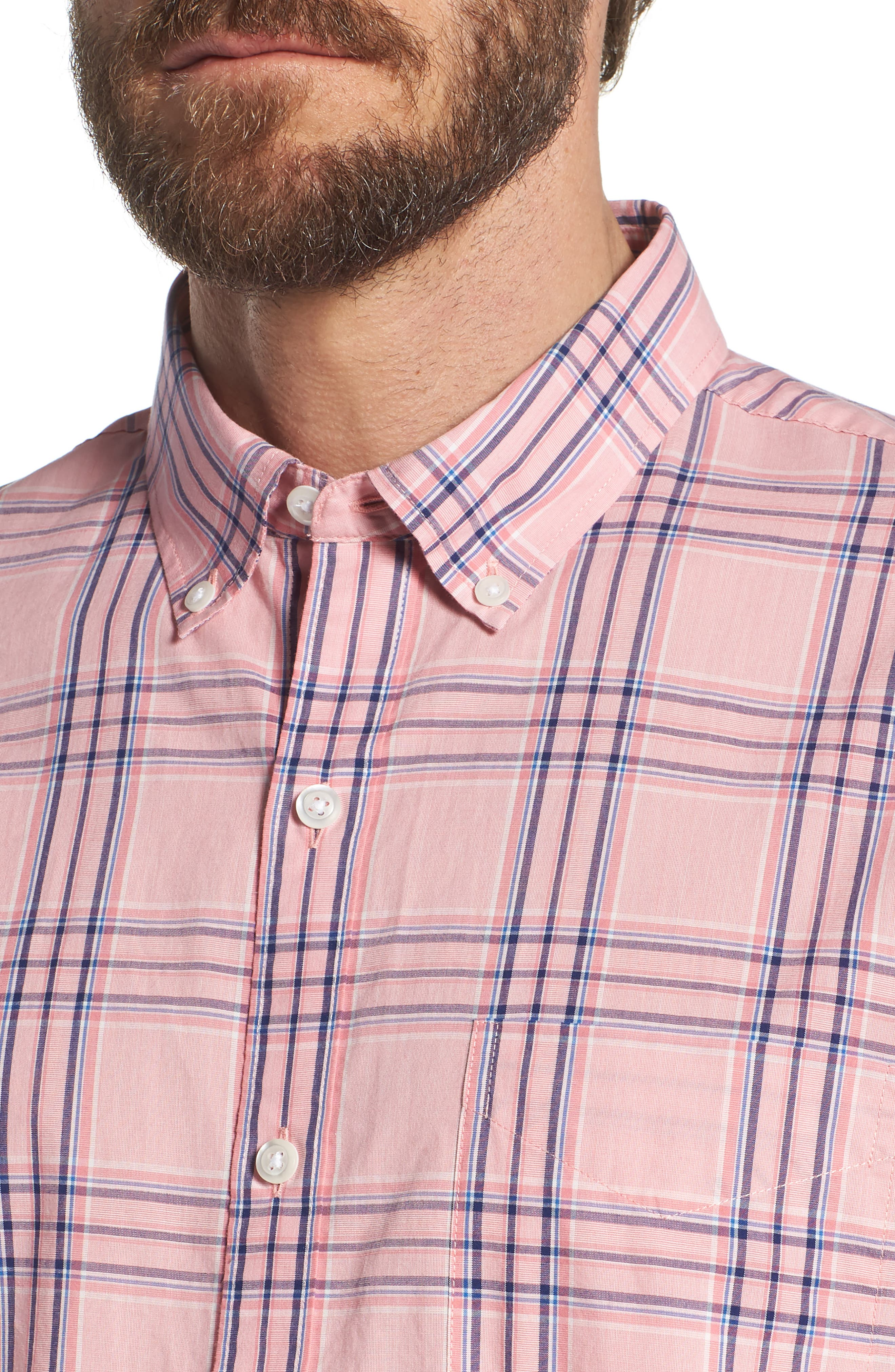 Summerweight Slim Fit Check Sport Shirt,                             Alternate thumbnail 2, color,                             Pearson Check - Peony Coral