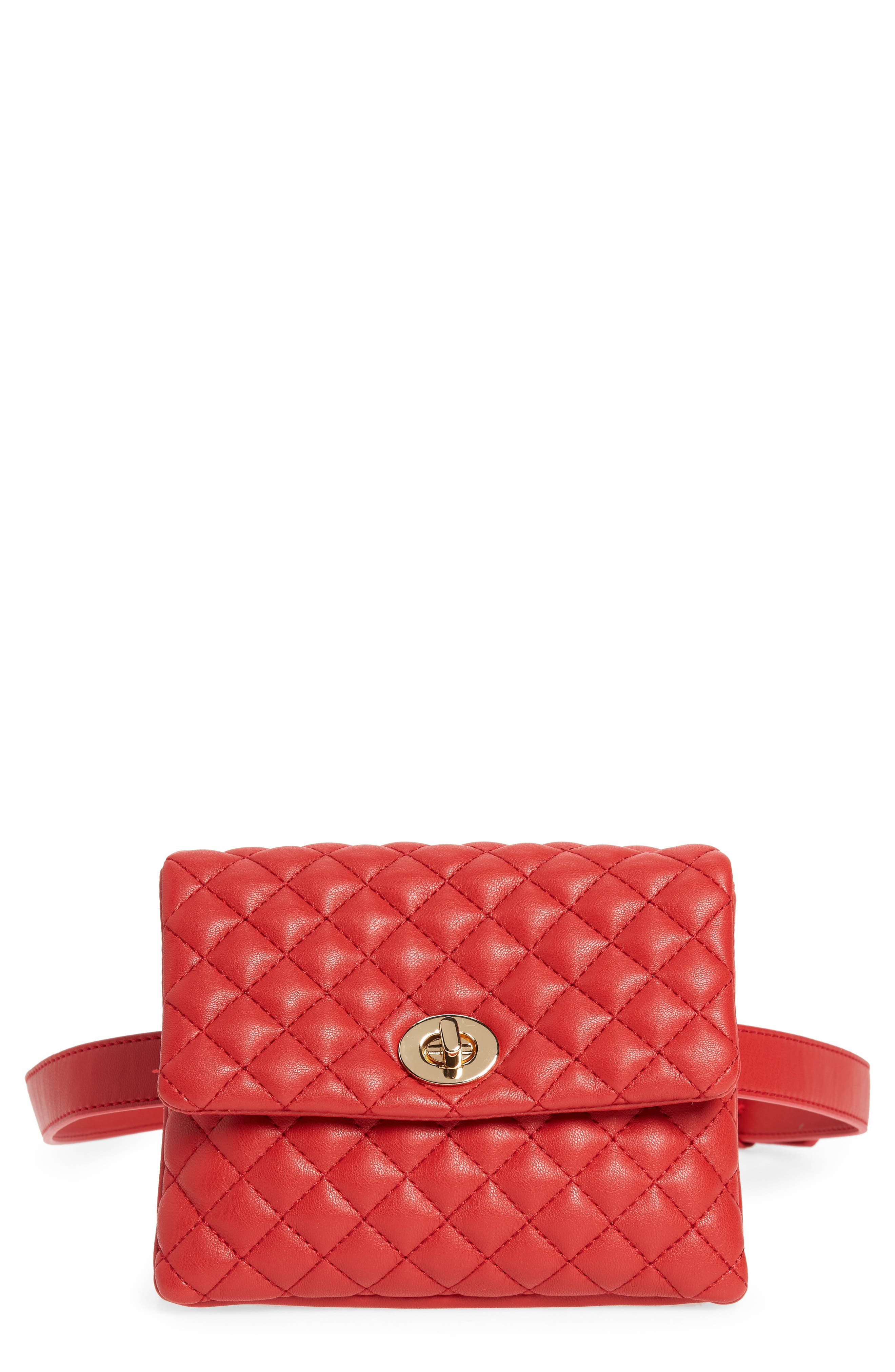 Mali + Lili Quilted Vegan Leather Convertible Belt Bag,                             Main thumbnail 1, color,                             Red