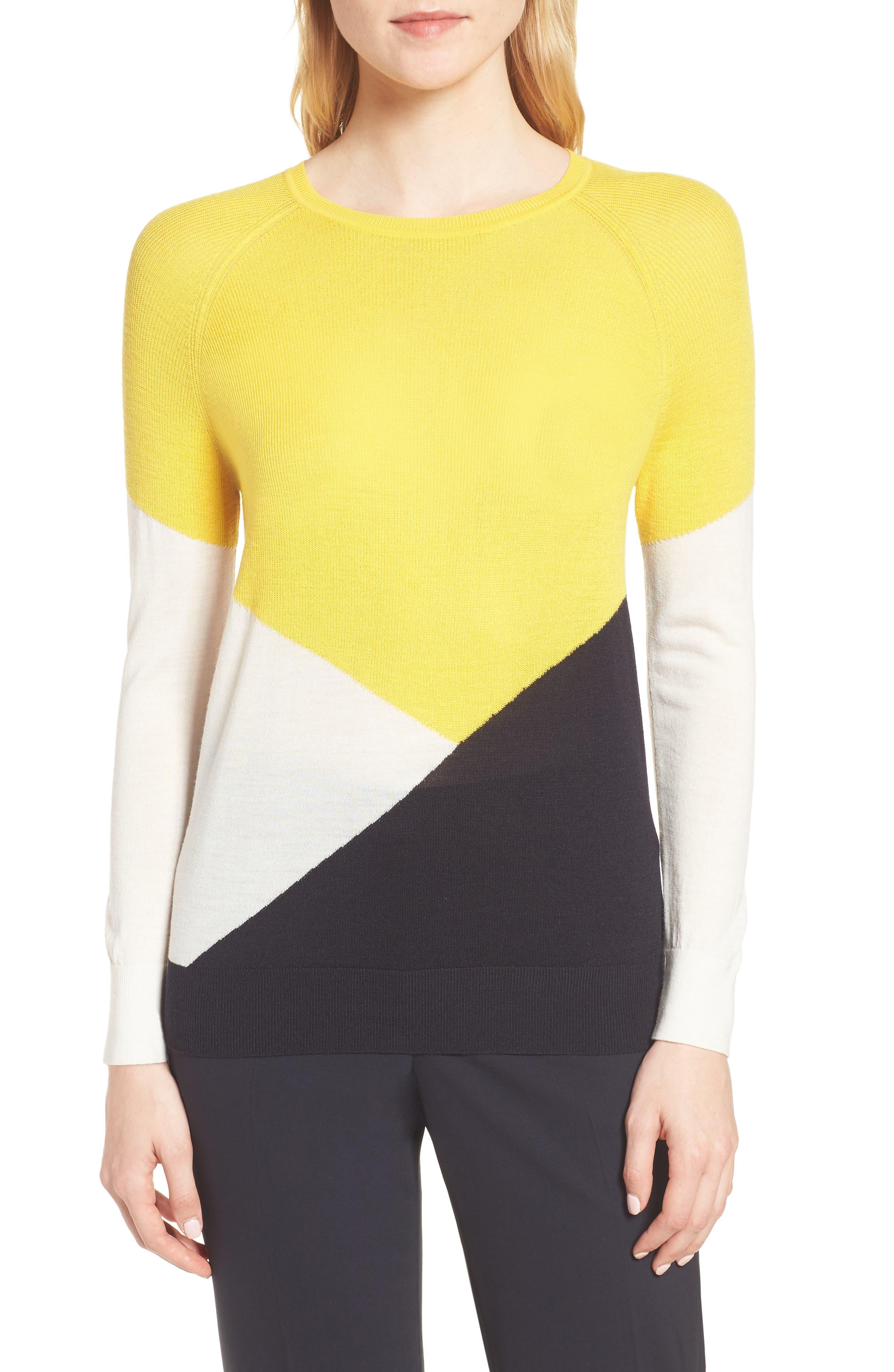 Farrow Colorblock Wool Sweater,                             Main thumbnail 1, color,                             Sun Yellow Fantasy