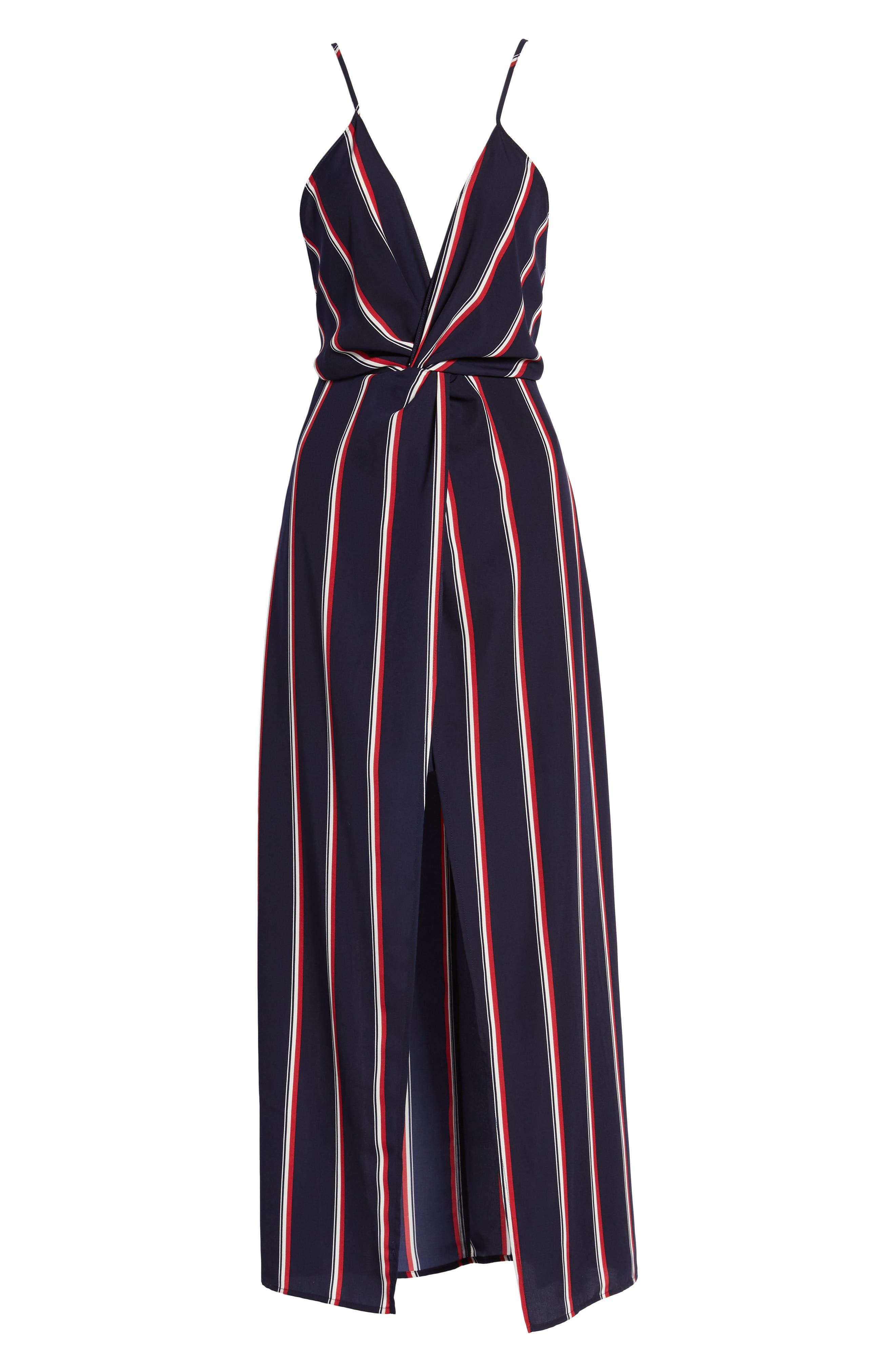 Print Maxi Dress,                             Alternate thumbnail 6, color,                             Navy/ Red Stripe