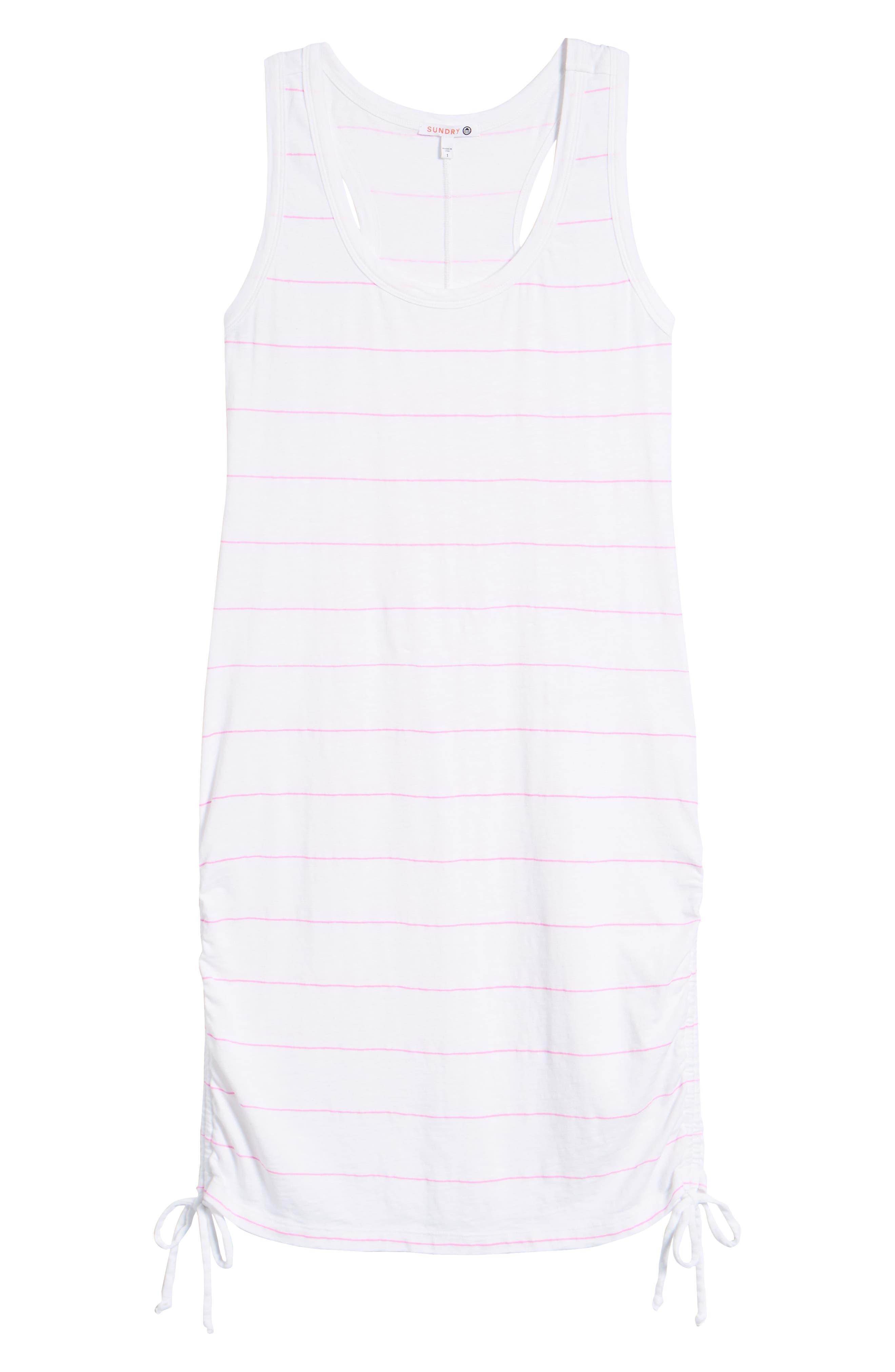 Shirred Racerback Dress,                             Alternate thumbnail 6, color,                             White