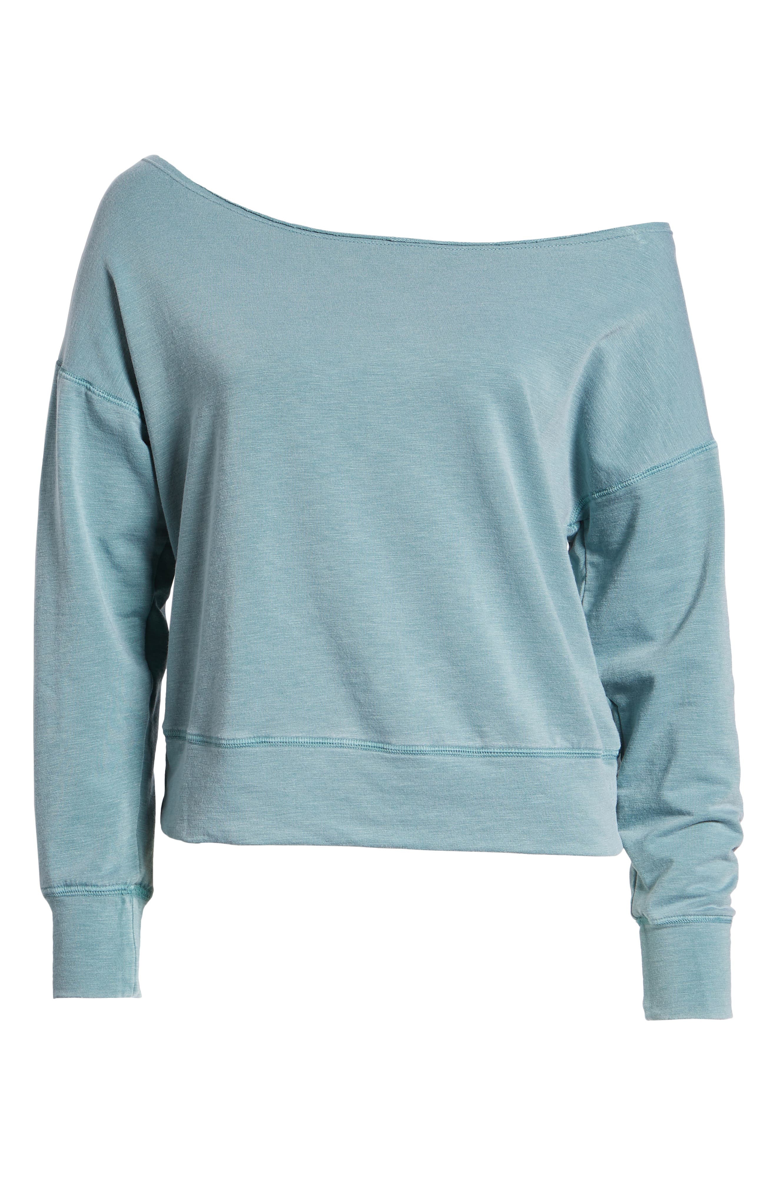 Off the Shoulder Sweatshirt,                             Alternate thumbnail 7, color,                             Pigment Basil