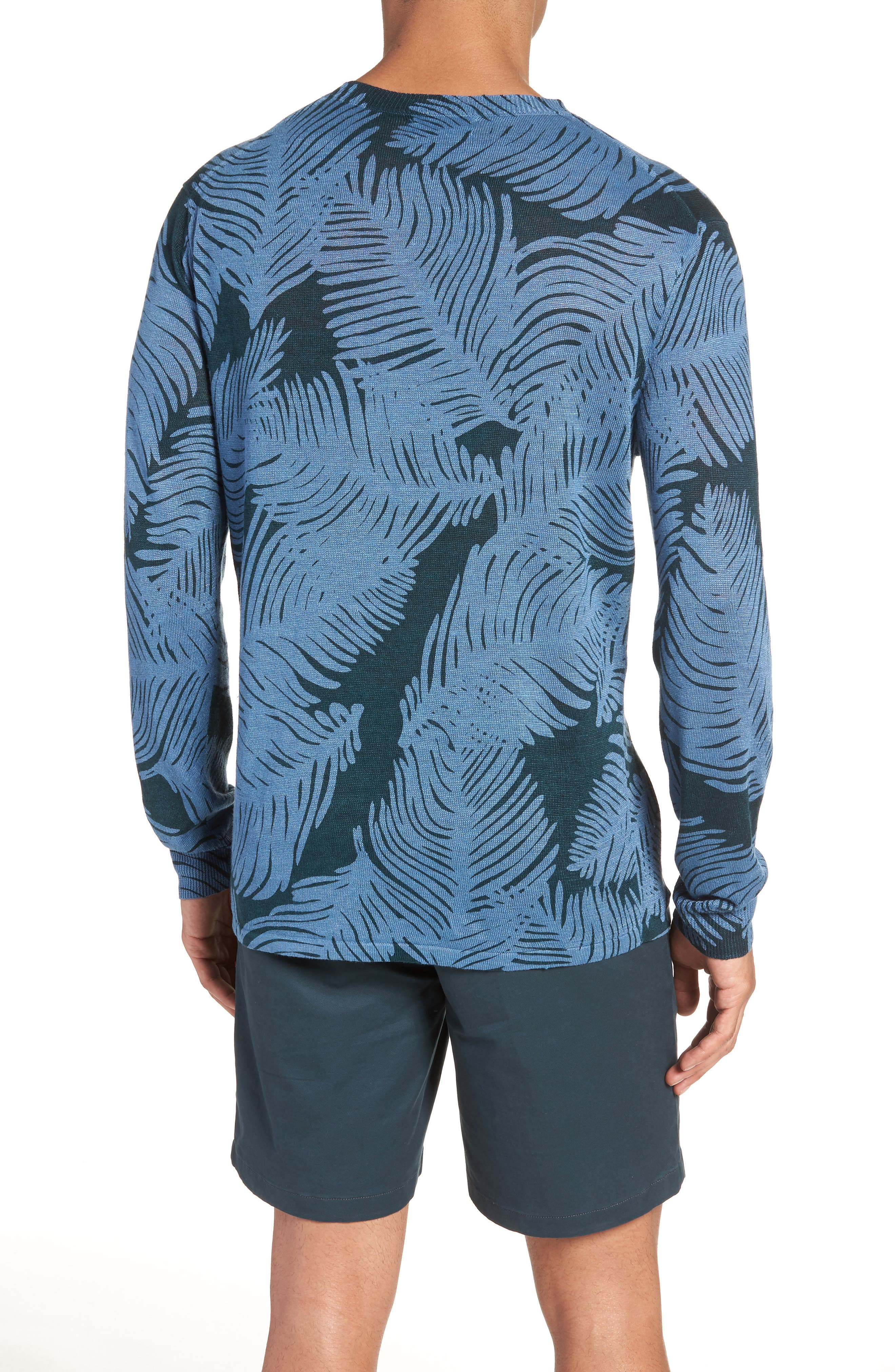 Palm Print Linen Sweater,                             Alternate thumbnail 2, color,                             Palm Fan Print