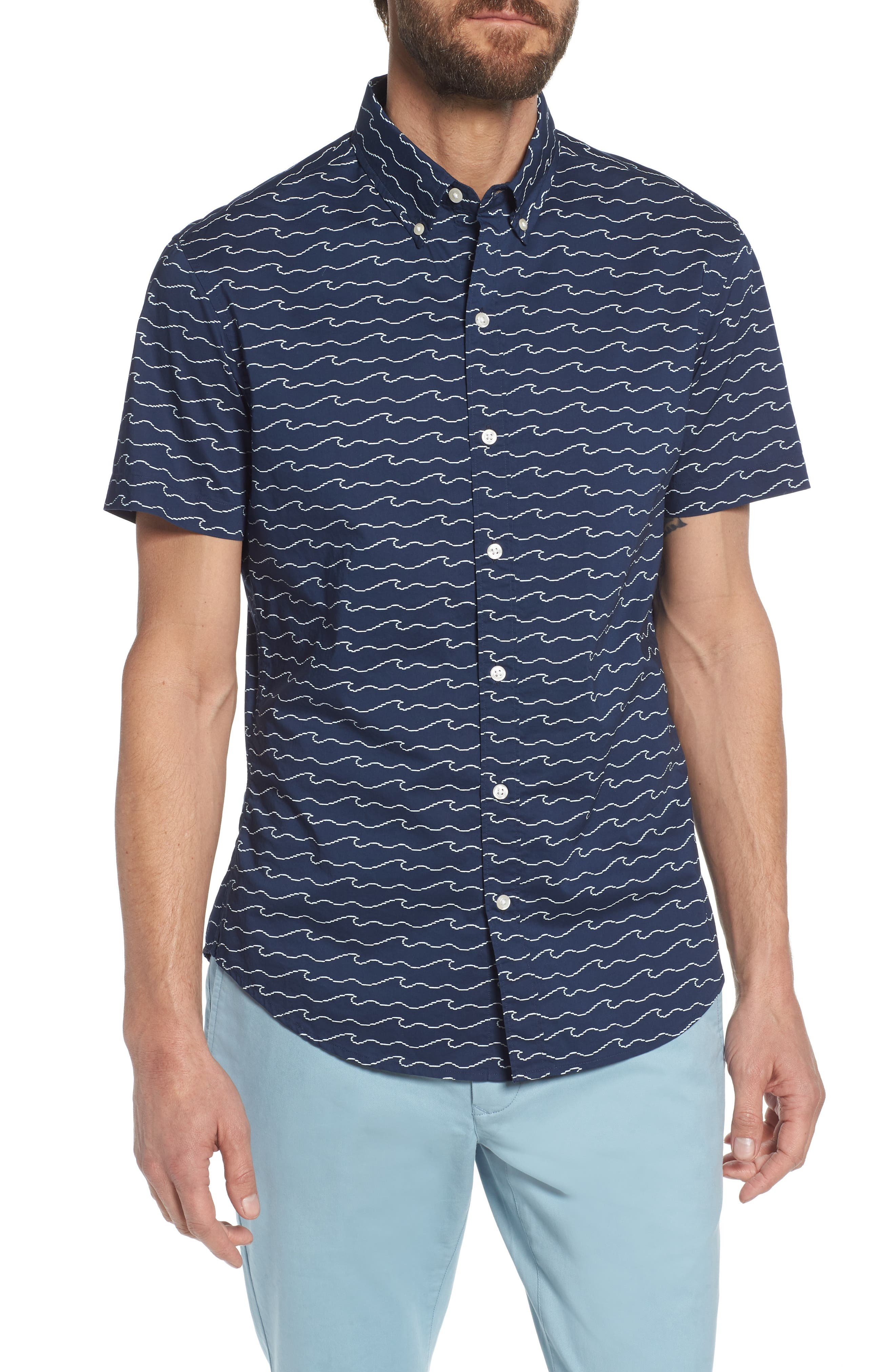 Slim Fit Print Sport Shirt,                         Main,                         color, Digital Wave - Deep Pacific