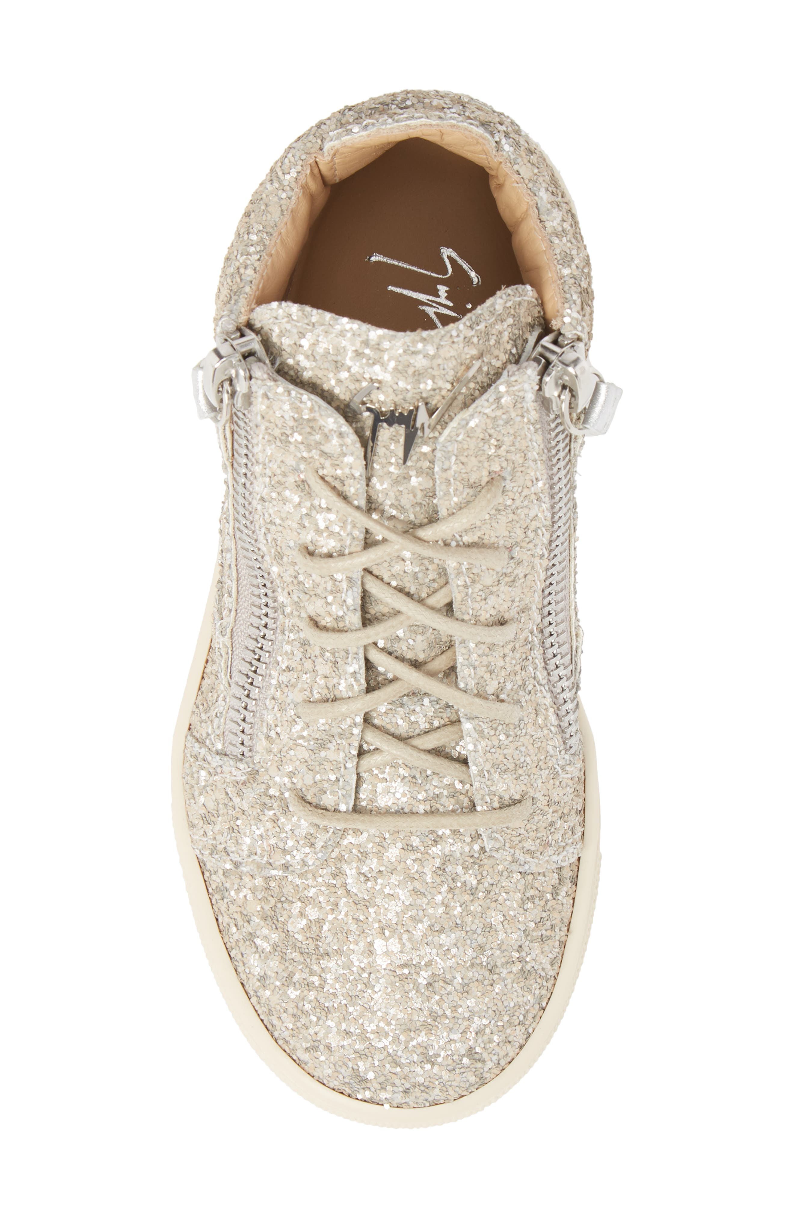 Natalie High Top Sneaker,                             Alternate thumbnail 5, color,                             Silver Glitter