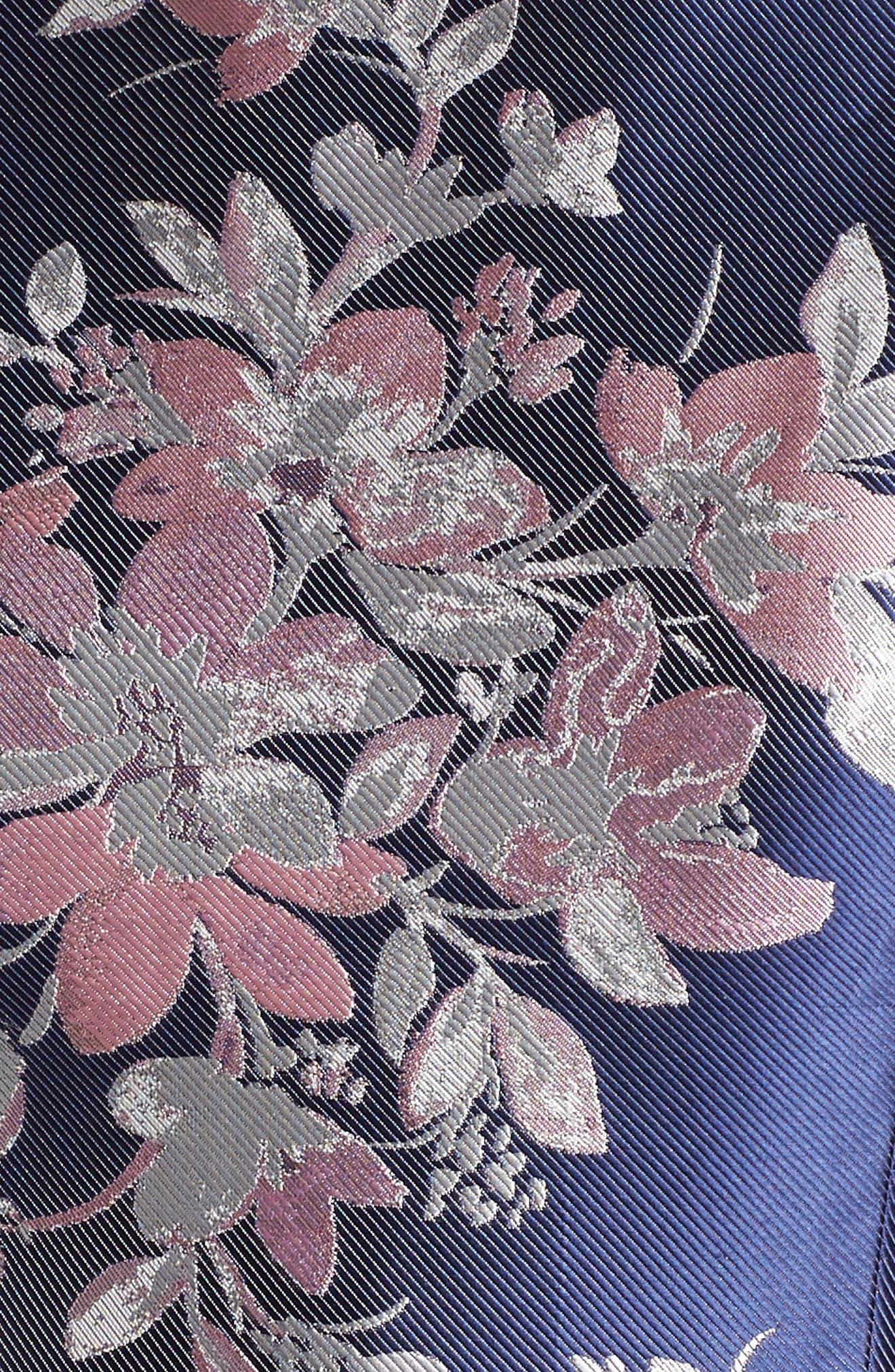 Floral Jacquard Fit & Flare Dress,                             Alternate thumbnail 5, color,                             Navy