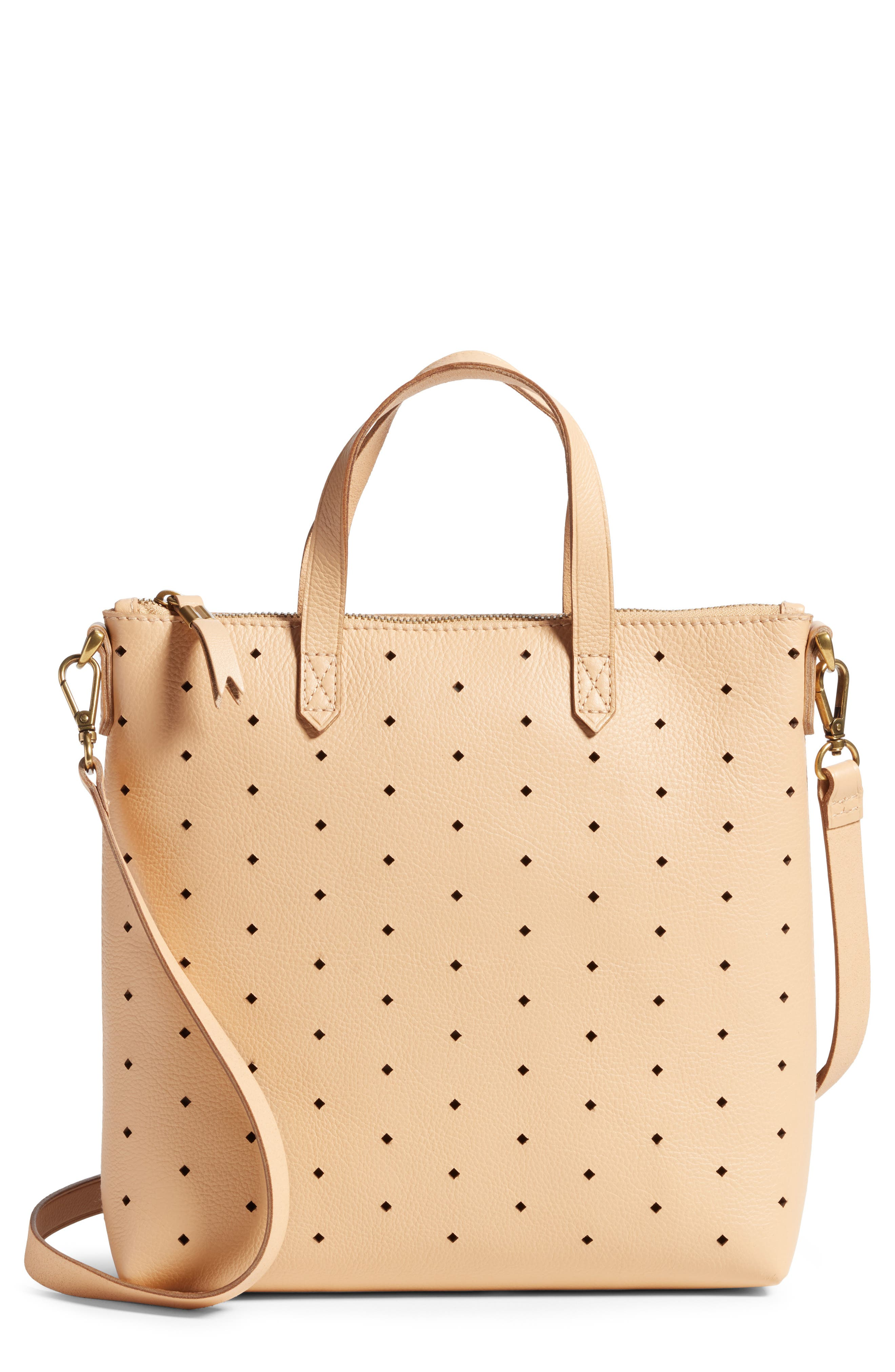 Mini Transport Perforated Leather Crossbody Bag,                         Main,                         color, Linen