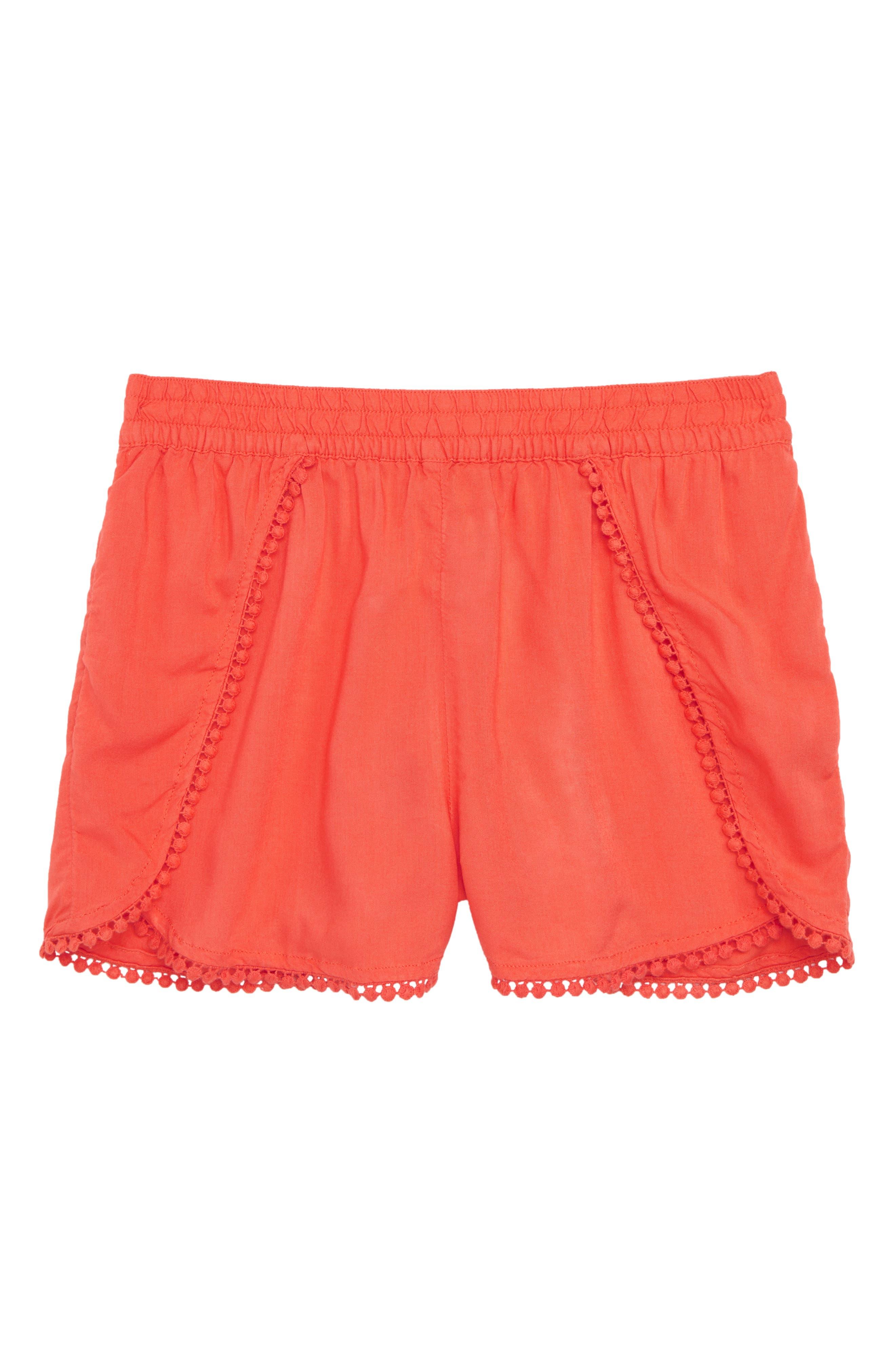 Petal Shorts,                             Main thumbnail 1, color,                             Coral Hot