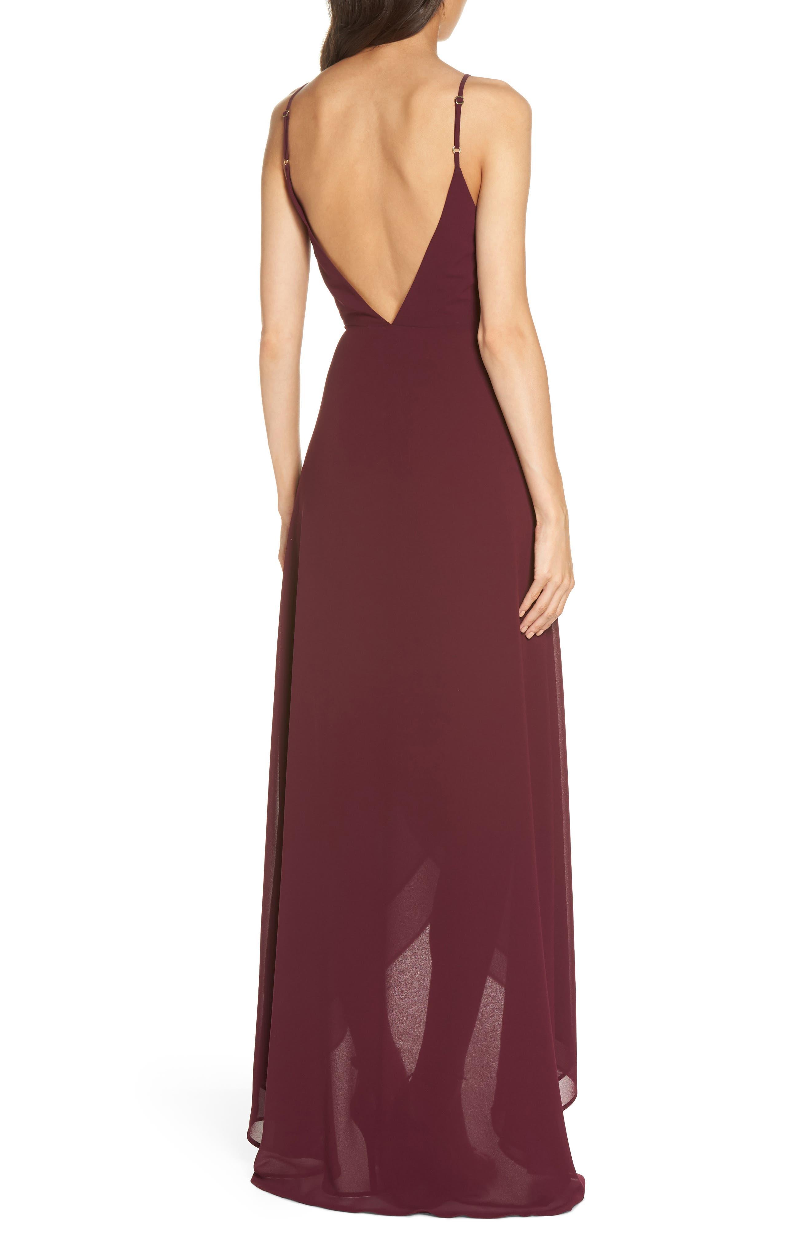 Mariah Wrap Maxi Dress,                             Alternate thumbnail 2, color,                             Merlot Chiffon