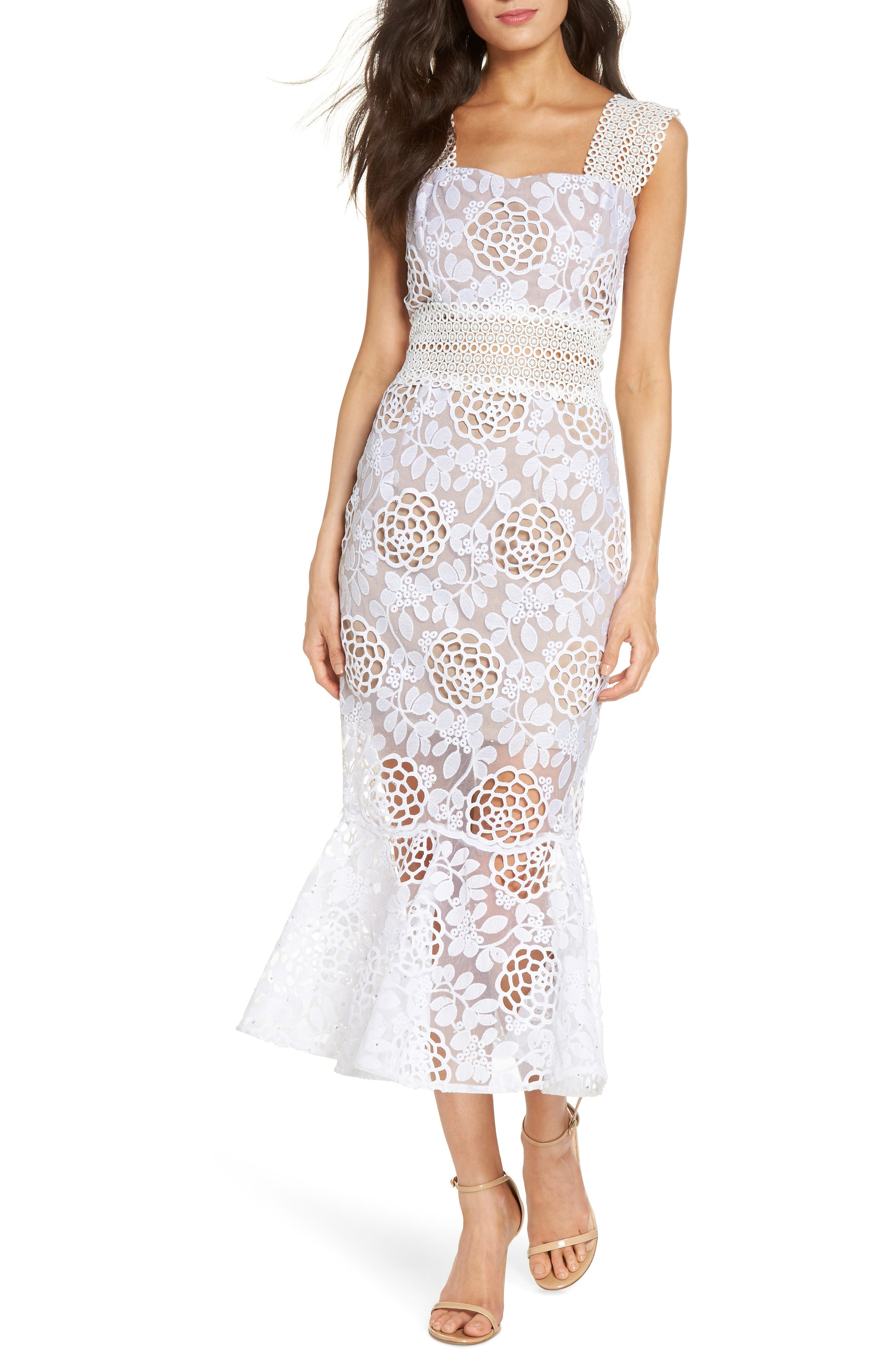 Capri Floral Lace Midi Dress,                             Main thumbnail 1, color,                             White