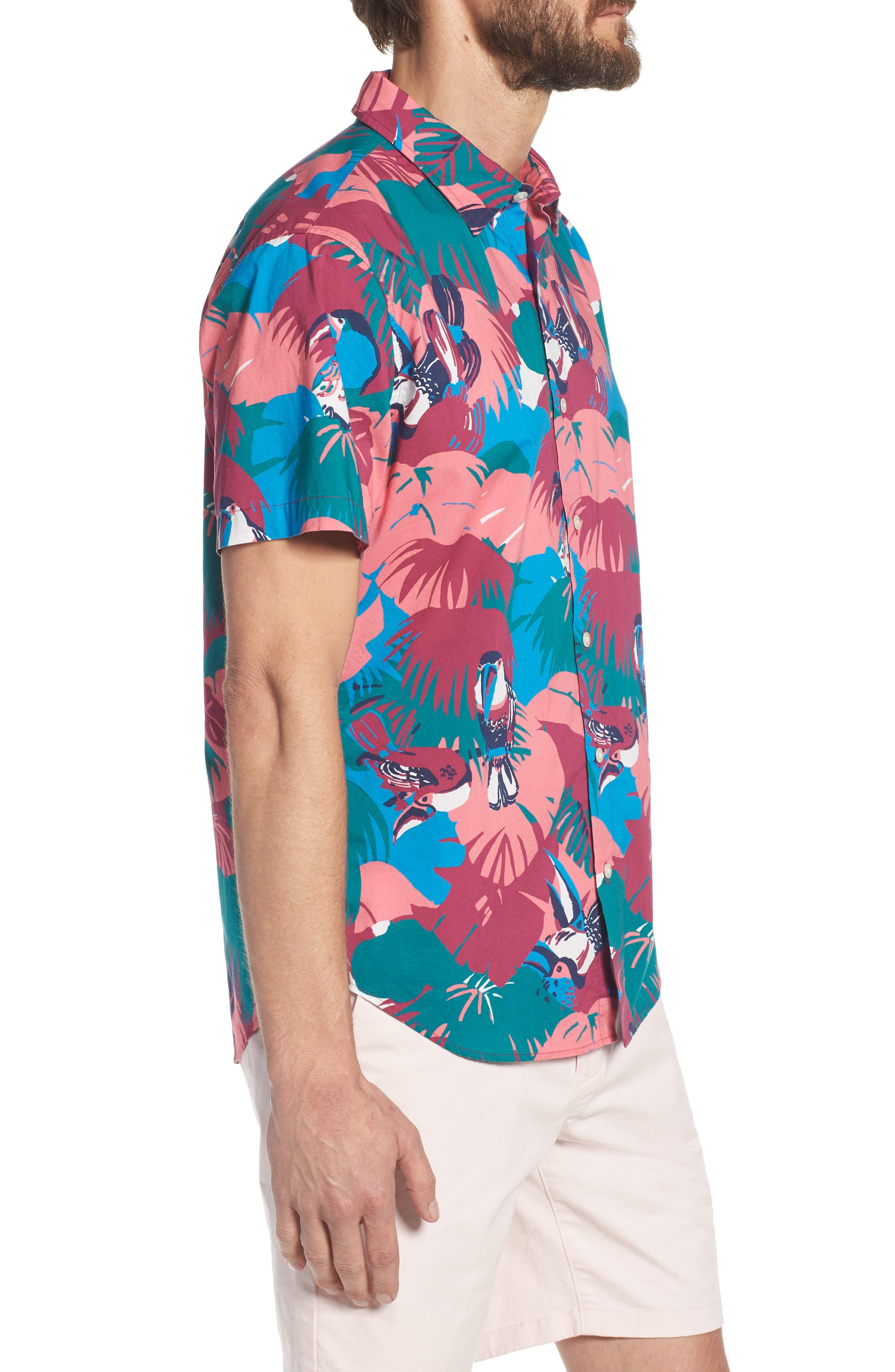 Riviera Slim Fit Toucan Print Sport Shirt,                             Alternate thumbnail 5, color,                             Toucan Tropics - Peony Coral