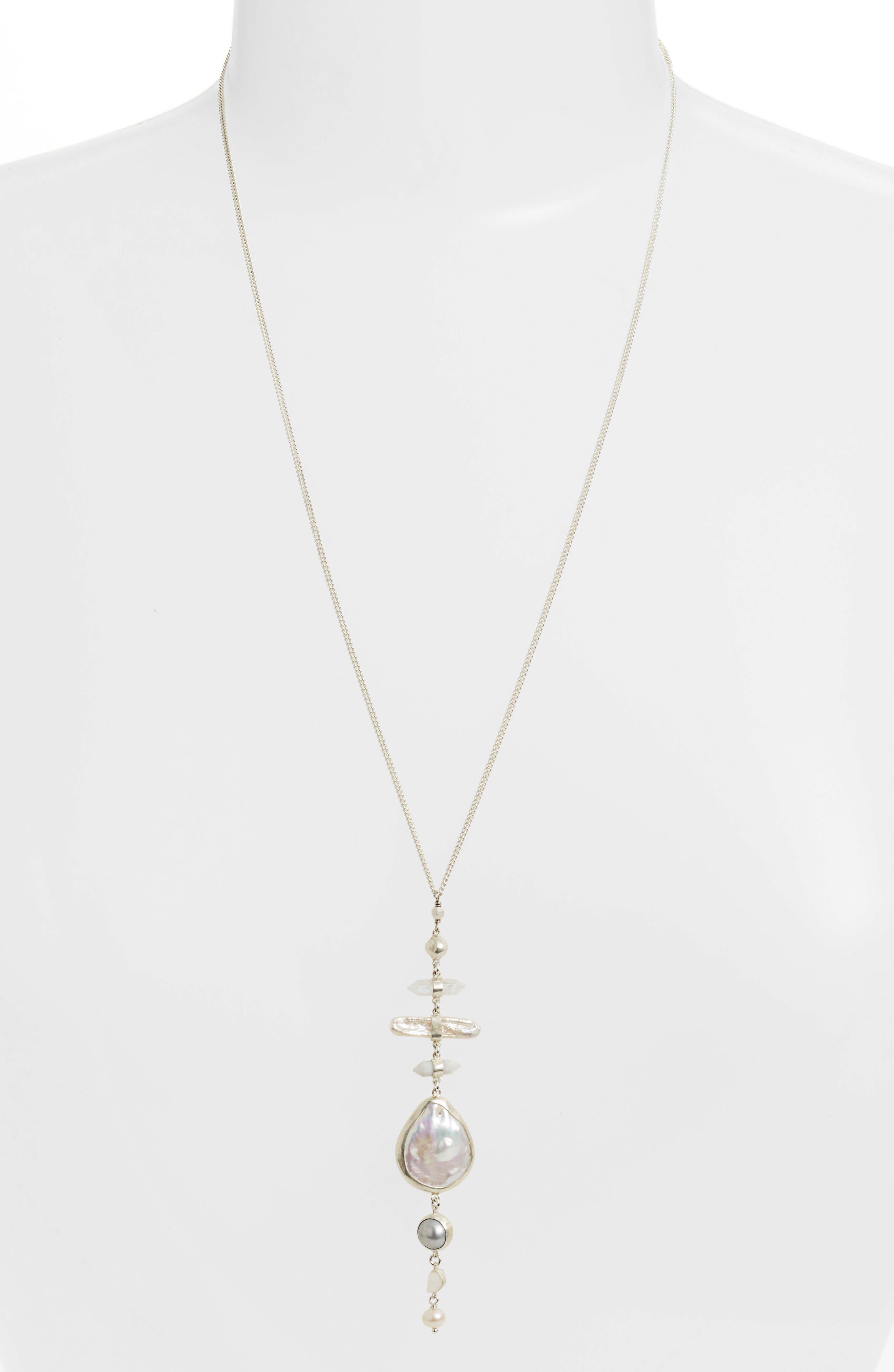 Chan Luu Pearl & Semiprecious Stone Pendant Necklace