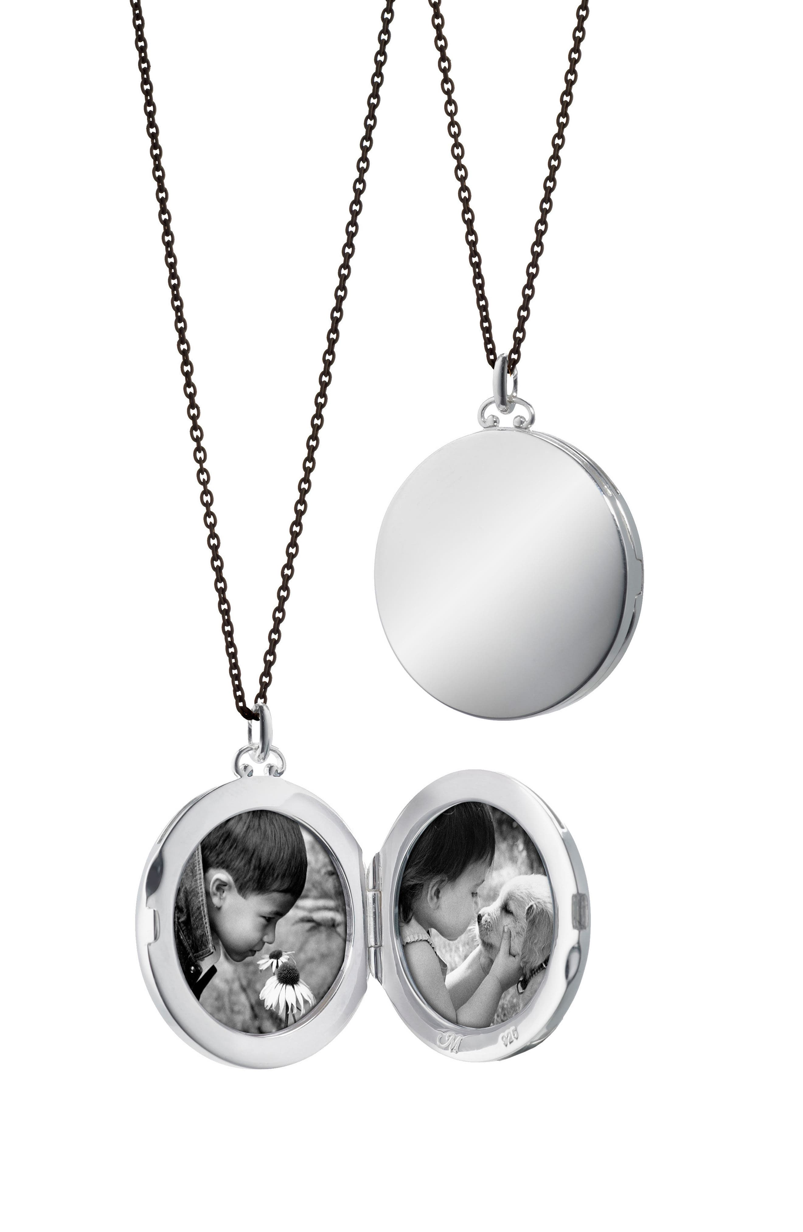 Round Dome Locket Necklace,                             Main thumbnail 1, color,                             Sterling Silver/ Black Steel