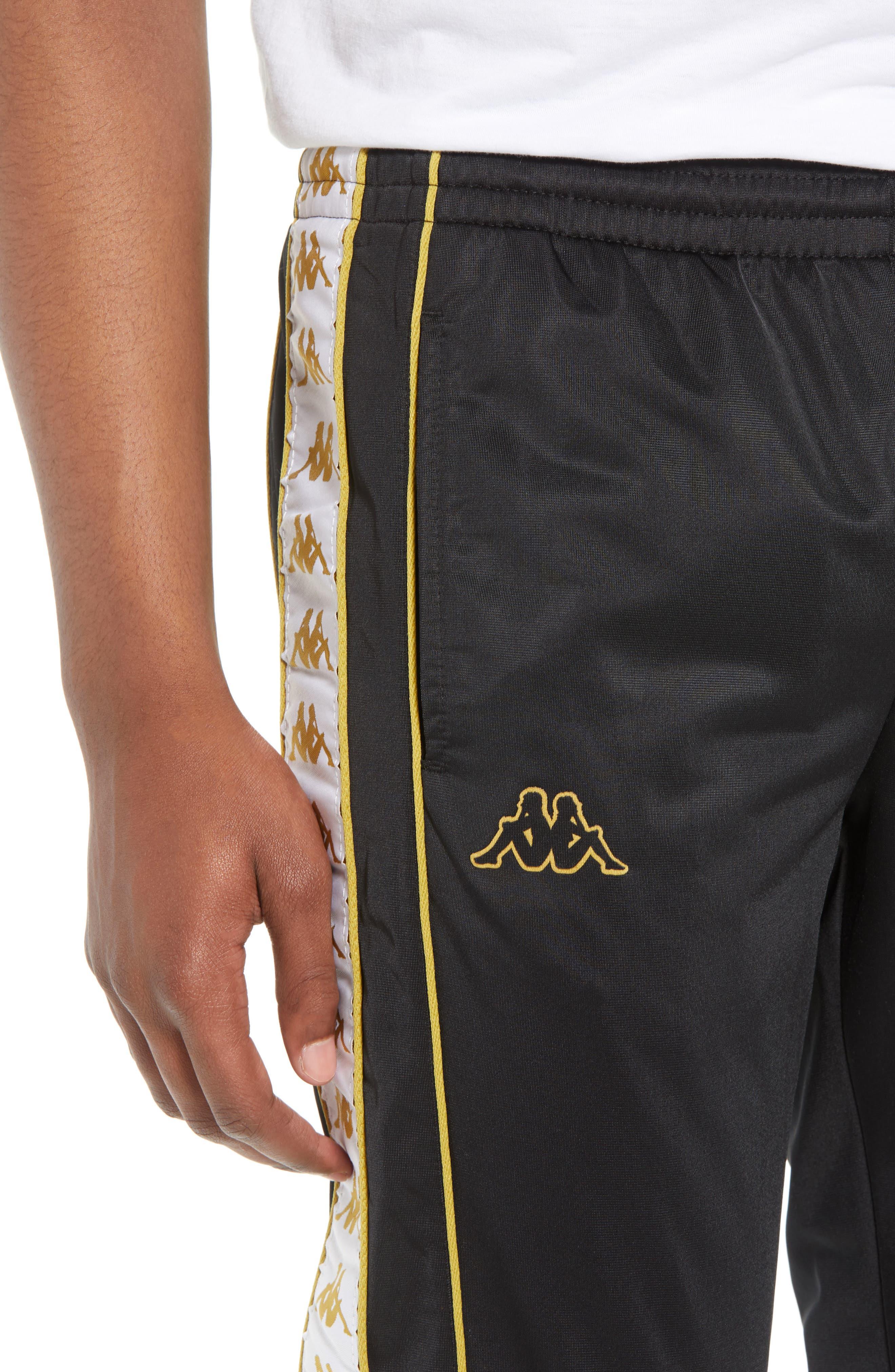 Racing Track Pants,                             Alternate thumbnail 4, color,                             Black/ White Gold