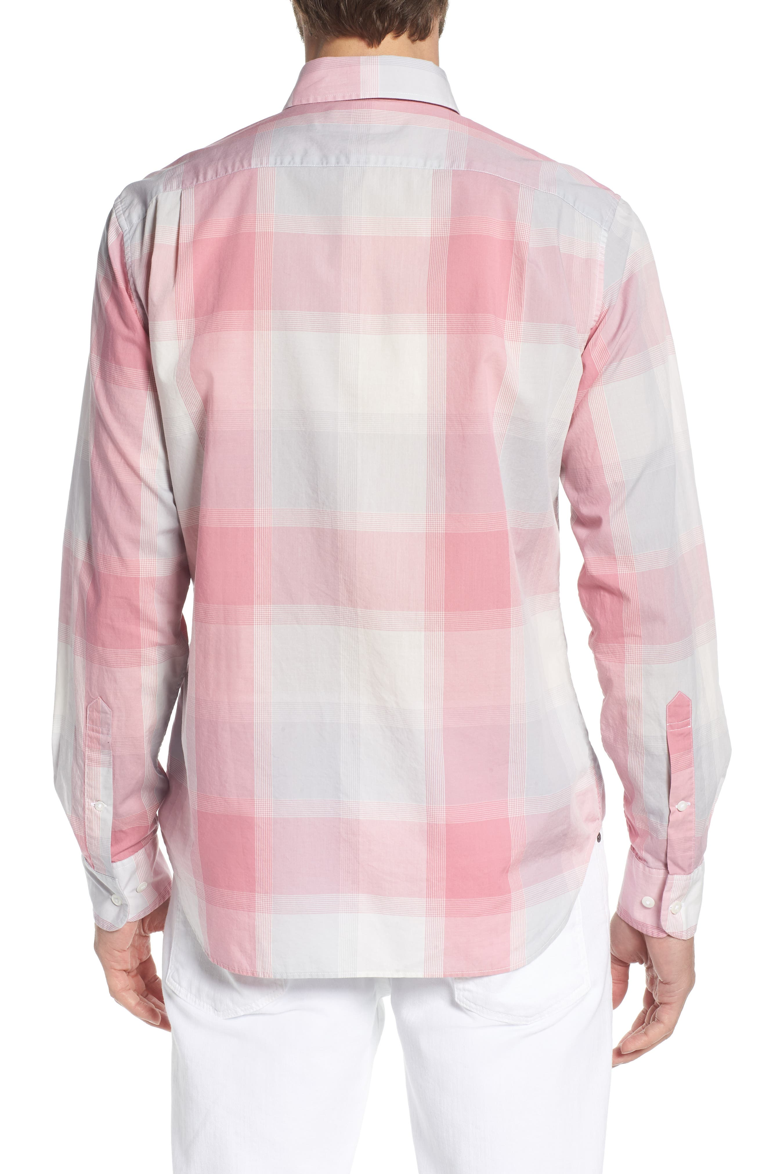 Summerweight Slim Fit Plaid Sport Shirt,                             Alternate thumbnail 3, color,                             Oro Plaid - Pink Sand