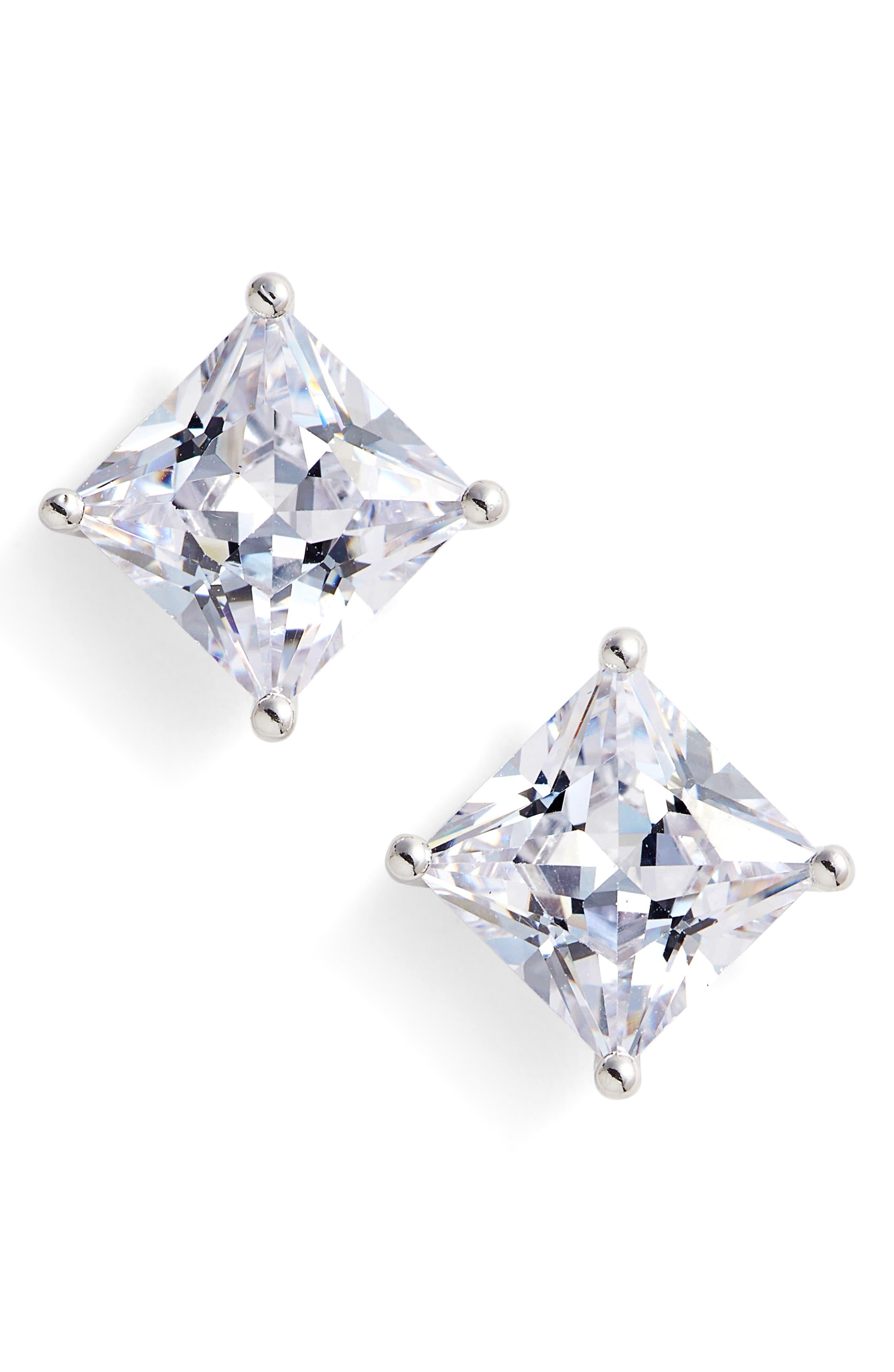 6ct tw Princess Cut Cubic Zirconia Stud Earrings,                         Main,                         color, Platinum