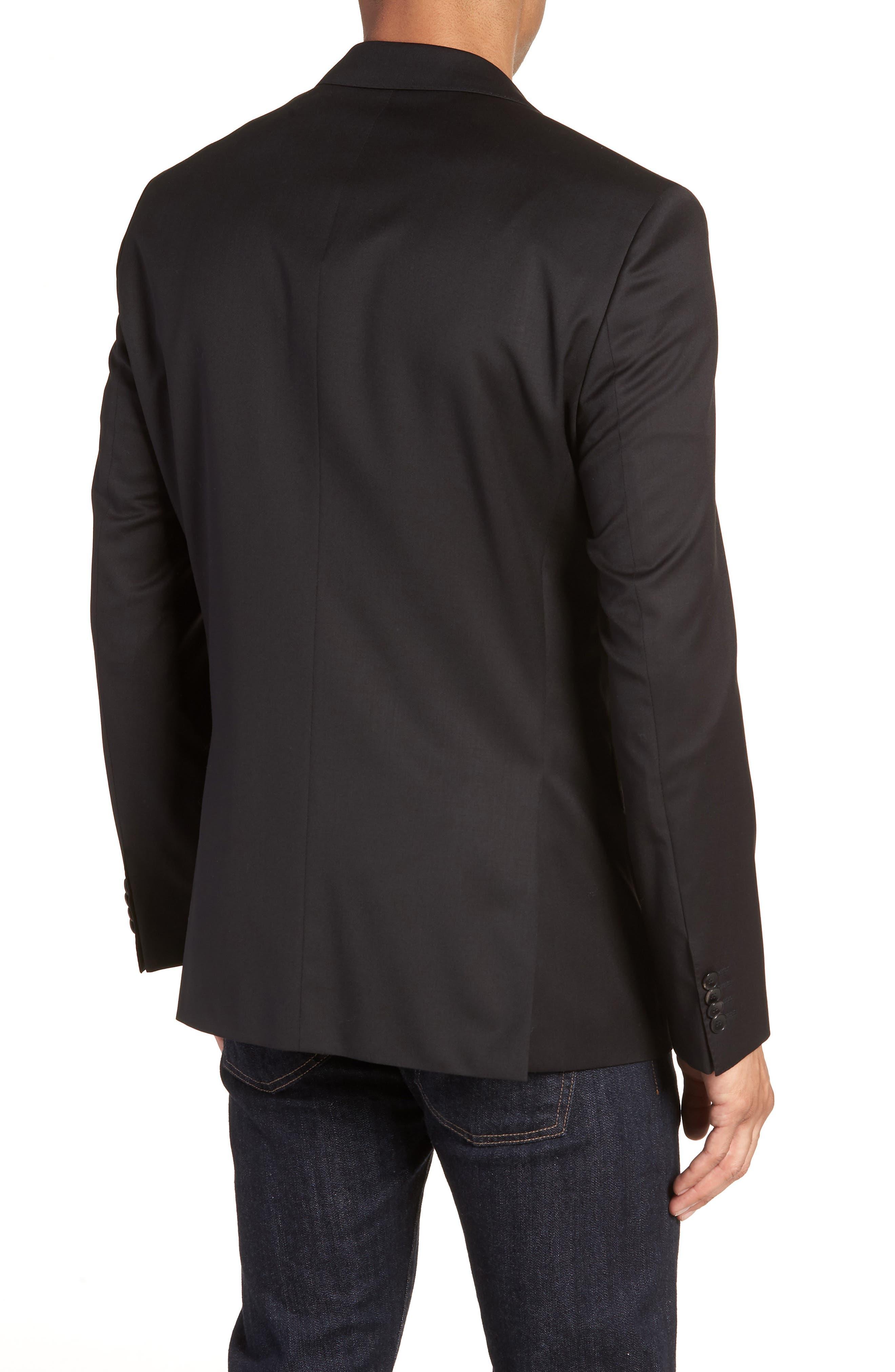 Johnstons CYL Trim Fit Solid Wool Sport Coat,                             Alternate thumbnail 2, color,                             Black